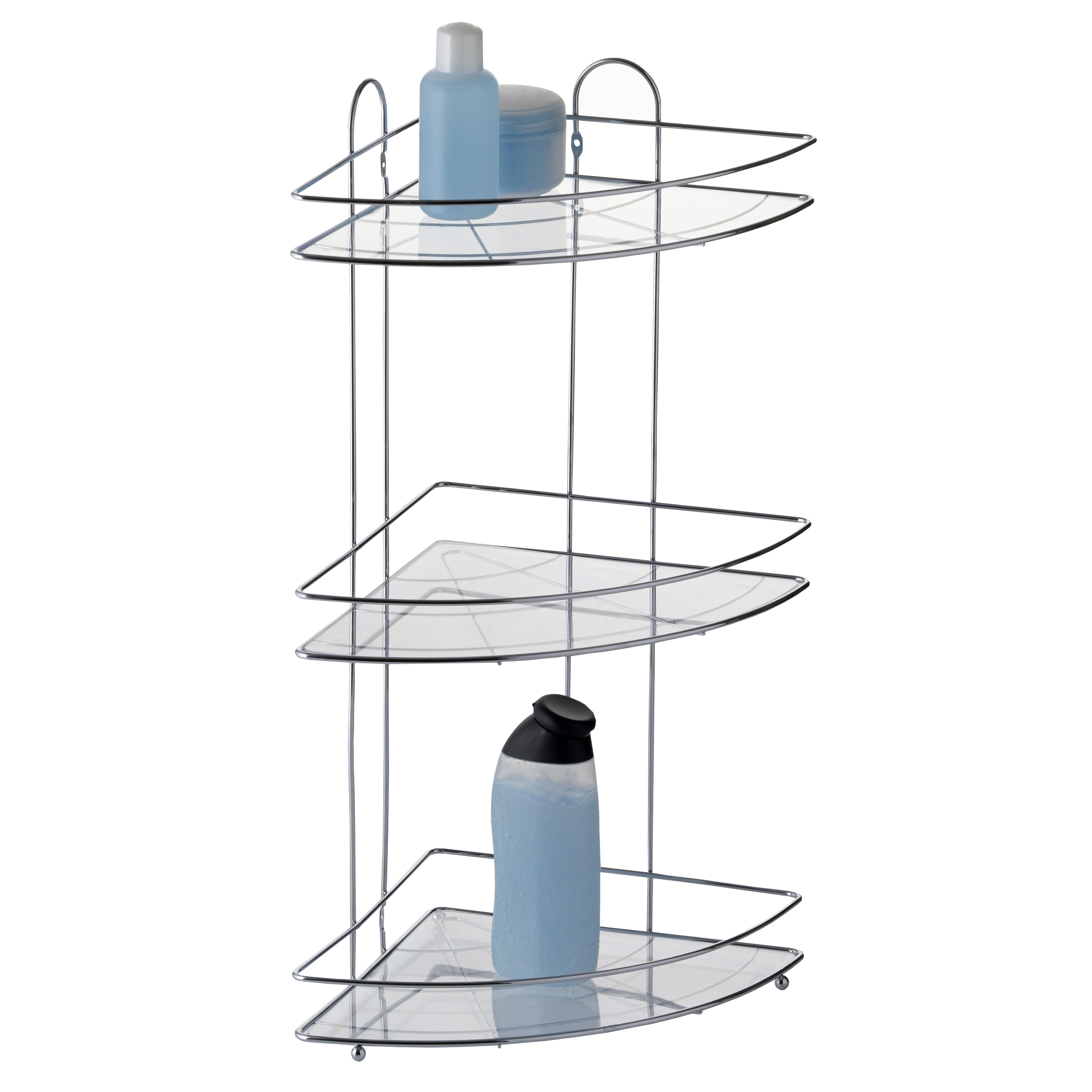 Полка для ванной Axentia, угловая, трехъярусная, 22,5 х 22,5 х 58,5 смNLED-441-7W-SТрехъярусная полка для ванной Axentia изготовлена из стали с качественным хромированным покрытием, которое на долго защитит изделие от ржавчины в условиях высокой влажности в ванной комнате. Изделие имеет угловую конструкцию и крепится на шурупах (входят в комплект). Классический дизайн и оптимальная вместимость подойдет для любого интерьера ванной комнаты или кухни.
