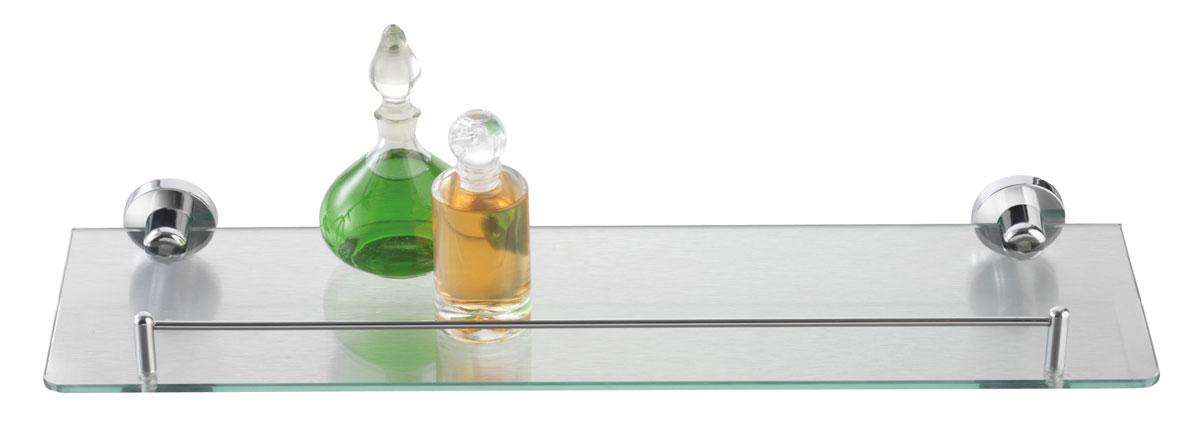 Полка для ванной Axentia, настенная, 50 х 14 см391602Навесная настенная полка для ванной Axentia изготовлена из стекла повышенной прочности и оснащена стальным бортиком. Изделие крепится на шурупах (входят в комплект). Классический дизайн и оптимальная вместимость подойдет для любого интерьера ванной комнаты.