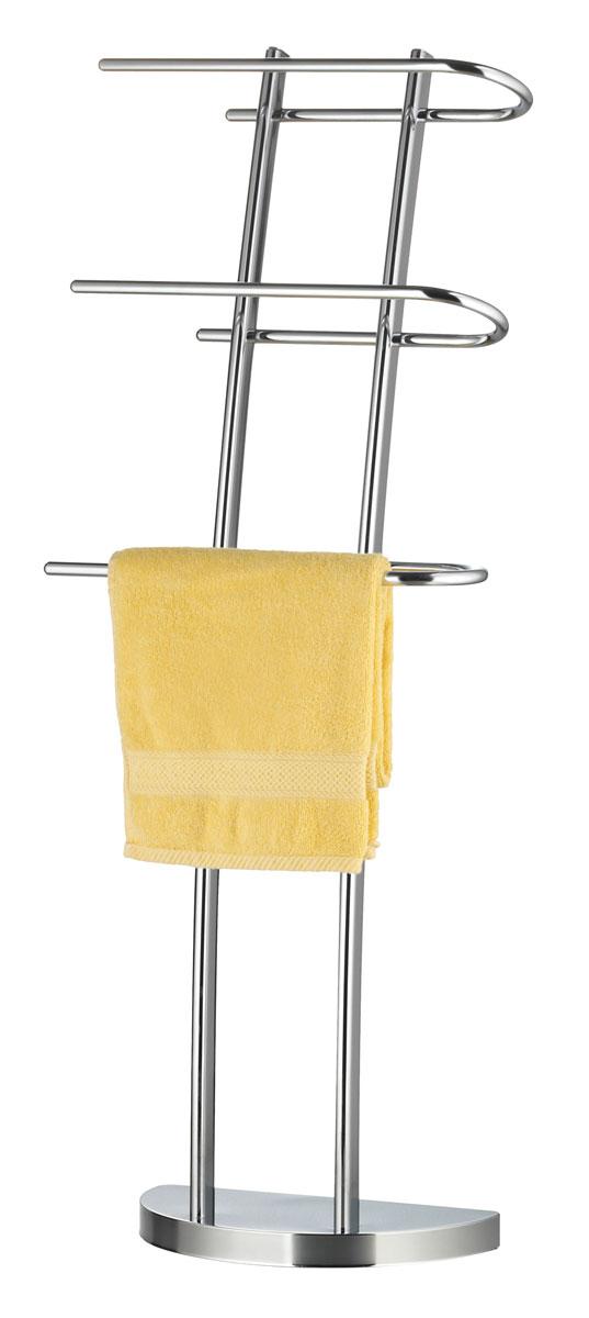 Вешалка для полотенец Axentia, напольная, с 3 планками, 38 х 21 х 105 см531-401Напольная вешалка для полотенец Axentia изготовлена из высококачественной хромированной стали, устойчивой к коррозии в условиях высокой влажности в ванной комнате. Изделие оснащено тремя вращающими планками и утяжеленным основанием в виде полукруга для удобства размещения и лучшей устойчивости. Размер вешалки: 38 х 21 х 105 см.