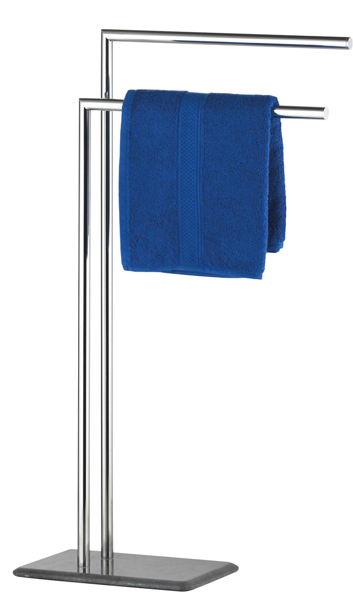 Вешалка для полотенец Axentia Galant, напольная, с 2 планками, 32 х 20 х 82 см68/2/3Напольная вешалка для полотенец Axentia Galant изготовлена из высококачественной хромированной стали, устойчивой к коррозии в условиях высокой влажности в ванной комнате и мрамора. Изделие имеет две планки, а также утяжеленное основание из мрамора для лучшей устойчивости.Стильный современный дизайн, сочетающий в себе мрамор и хромированную сталь, украсит любую ванную комнату. Размер вешалки: 32 х 20 х 82 см.
