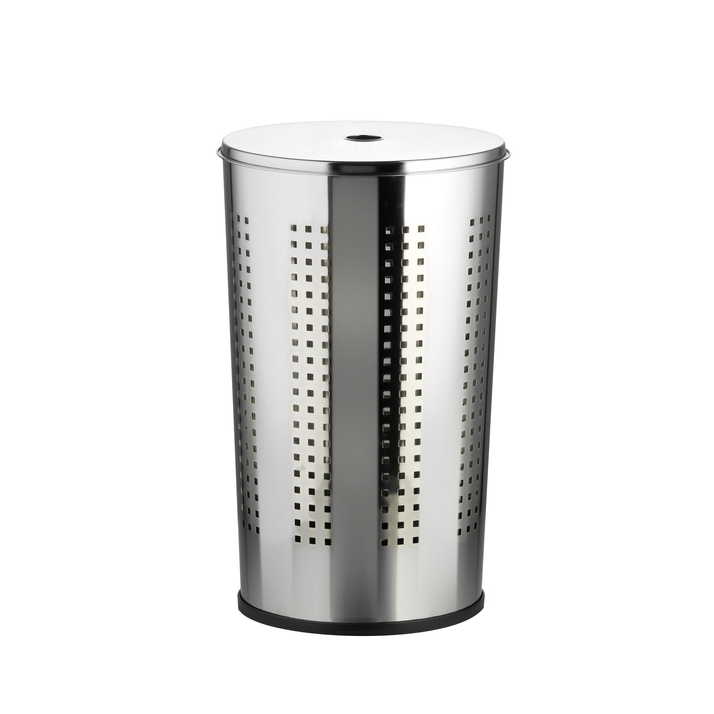 Корзина для белья Axentia, с крышкой, 50 л391602Корзина для белья Axentia изготовлена из высококачественной хромированной стали, устойчивой к коррозии в условиях высокой влажности в ванной комнате. Подойдет для семьи из 3-5 человек. Специальные отверстия по всему периметру корзины позволяют дышать и не позволят сопреть вашему белью. Изделие оснащено крышкой, которая плотно закрывается и не болтается на корзине. Пластиковая подставка создает дополнительную устойчивость, безопасность пола и бесшумность при перемещении. Современный дизайн корзины украсит любой интерьер ванной комнаты.Объем корзины:50 литров.Размер корзины: 35 х 35 х 58 см.