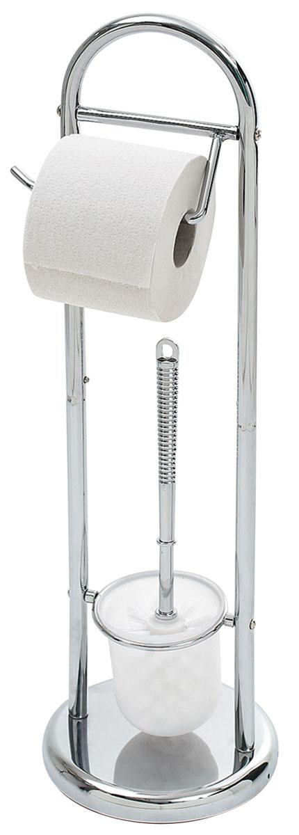 Гарнитур для туалета Top Star Kurt, с держателем для бумаги531-401Гарнитур для туалета Top Star Kurt состоит из колбы с ершиком и держателя для бумаги. Основание гарнитура выполнено из утяжеленного хромированного металла, что придает устойчивость изделию. Держатель для туалетной бумаги легко поворачивается, поэтому с заменой рулона справится даже ребенок. В нижней части стойки для туалета расположена пластиковая колба с туалетным ершом с удобной ручкой. Сам ершик выполнен из высококачественного пластика и оснащен густой упругой щетиной. Такой гарнитур прекрасно впишется в интерьер вашей туалетной комнаты.