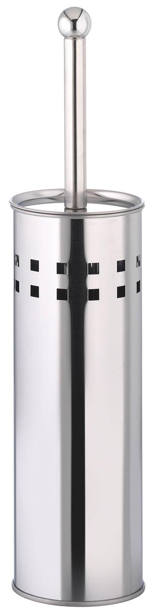 Ершик для унитаза Axentia, с подставкой, высота 41 см68/5/3Ершик для унитаза Axentia имеет ручку из нержавеющей стали и белую щетку, с жестким густым ворсом. Подставка, выполненная в виде цилиндра из нержавеющей стали с декоративными отверстиями по верхней части окружности, имеет крышку и пластиковый стакан для остаточной влаги. Высококачественные материалы позволят наслаждаться покупкой долгие годы. Изделие приятно дополнит интерьер вашей туалетной комнаты.