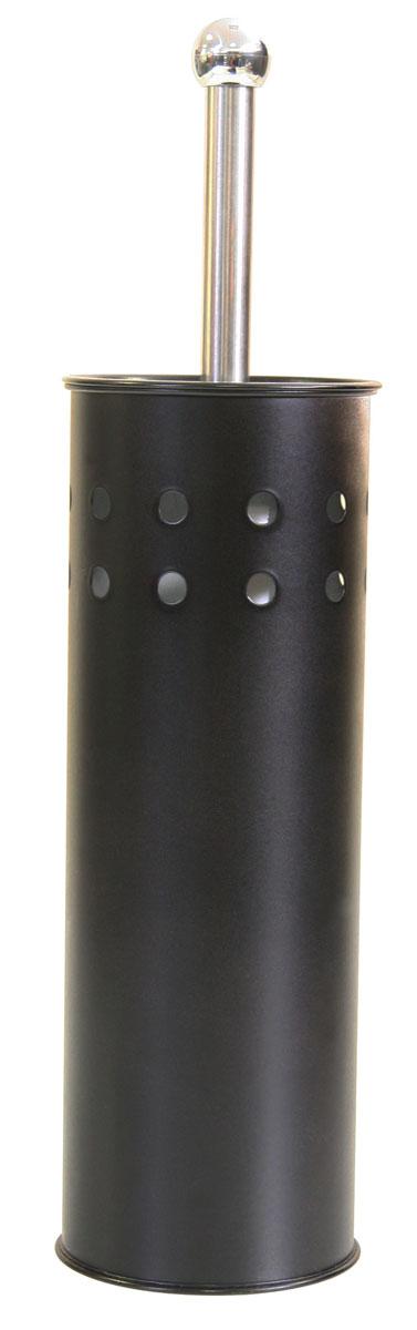 Гарнитур для туалета Axentia, цвет: черный, 2 предметаCLP446Гарнитур для туалета Axentia выполнен в виде цилиндра из нержавеющей стали с декоративными отверстиями по верхней части окружности, с черным стойким порошковым напылением. Внутри имеется пластиковый стакан для остаточной влаги. Ершик имеет ручку и крышку из нержавеющей стали и белую щетку с жестким густым ворсом. Компактен и удобен в использовании. Изготовлен из высококачественных материалов, позволяющих прослужить гарнитуру долгие годы. Высота: 38,5 см.