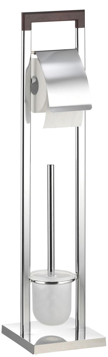 Гарнитур для туалета Axentia Nobless, с держателем для бумаги, 18 х 18 х 75 смSWTK-2200EТуалетный гарнитур с держателем для бумаги Axentia Nobless выполнен в стильном дизайне из высококачественной хромированной стали, устойчивой к проявлениям коррозии и верхней планки, изготовленной из натурального дерева. Состоит из держателя туалетной бумаги с крышкой, ершика со стальной ручкой, белой щеткой с жестким густым ворсом и подставки. Для высокой устойчивости у гарнитура имеется утяжеленное квадратное основание. Высококачественные материалы, а так же прочные крепления позволят наслаждаться покупкой долгие годы. Приятно дополнит интерьер вашей туалетной комнаты. Высота гарнитура: 75 см.