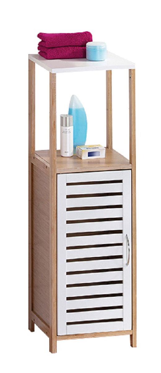 Стеллаж для ванной Axentia Bonja, с дверцей, цвет: бук, белый, 30 х 30 х 96 смFS-80423Стеллаж для ванной комнаты с двумя полками и дверцей, высотой 96 см, удобен и прост в использовании, вместителен, при этом не занимает много места.Коллекция стильной и экологичной мебели для ванной комнаты Axentia Bonja, сочетает в себе элементы натурального бамбука и водостойкого МДФ, придаст вашей ванной комнате ощущение свежести, натурального декора и не оставит равнодушными ваших гостей. Надежная конструкция и качественные материалы позволят наслаждатся покупкой долгие годы. Поставляется в фирменной картонной упаковке с инструкцией по сборке на русском языке. Все необходимые для сборки детали в комплекте.