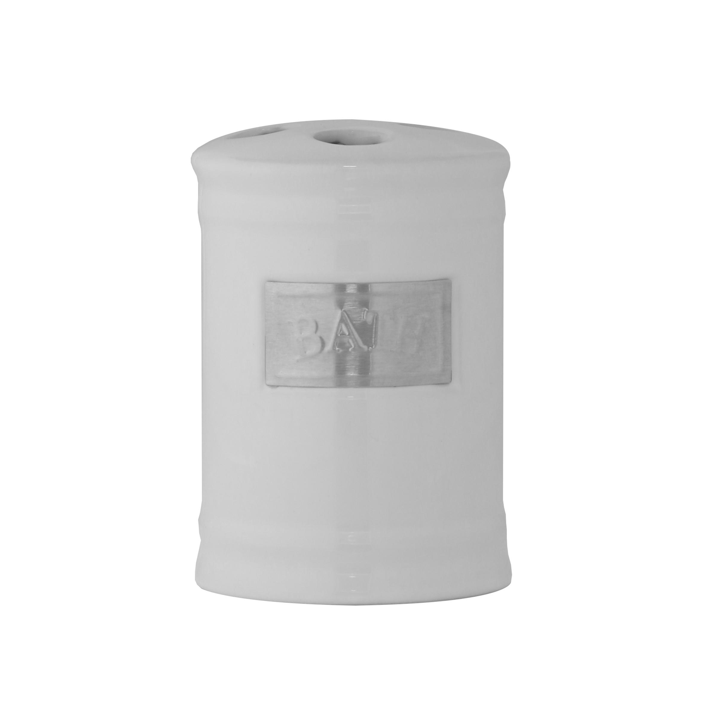 Стакан для зубных щеток Axentia Lyon531-105Стакан для зубных щеток Axentia Lyon выполнен из керамики с элементами из нержавеющей стали в античном стиле. Изделие превосходно дополнит интерьер ванной комнаты.