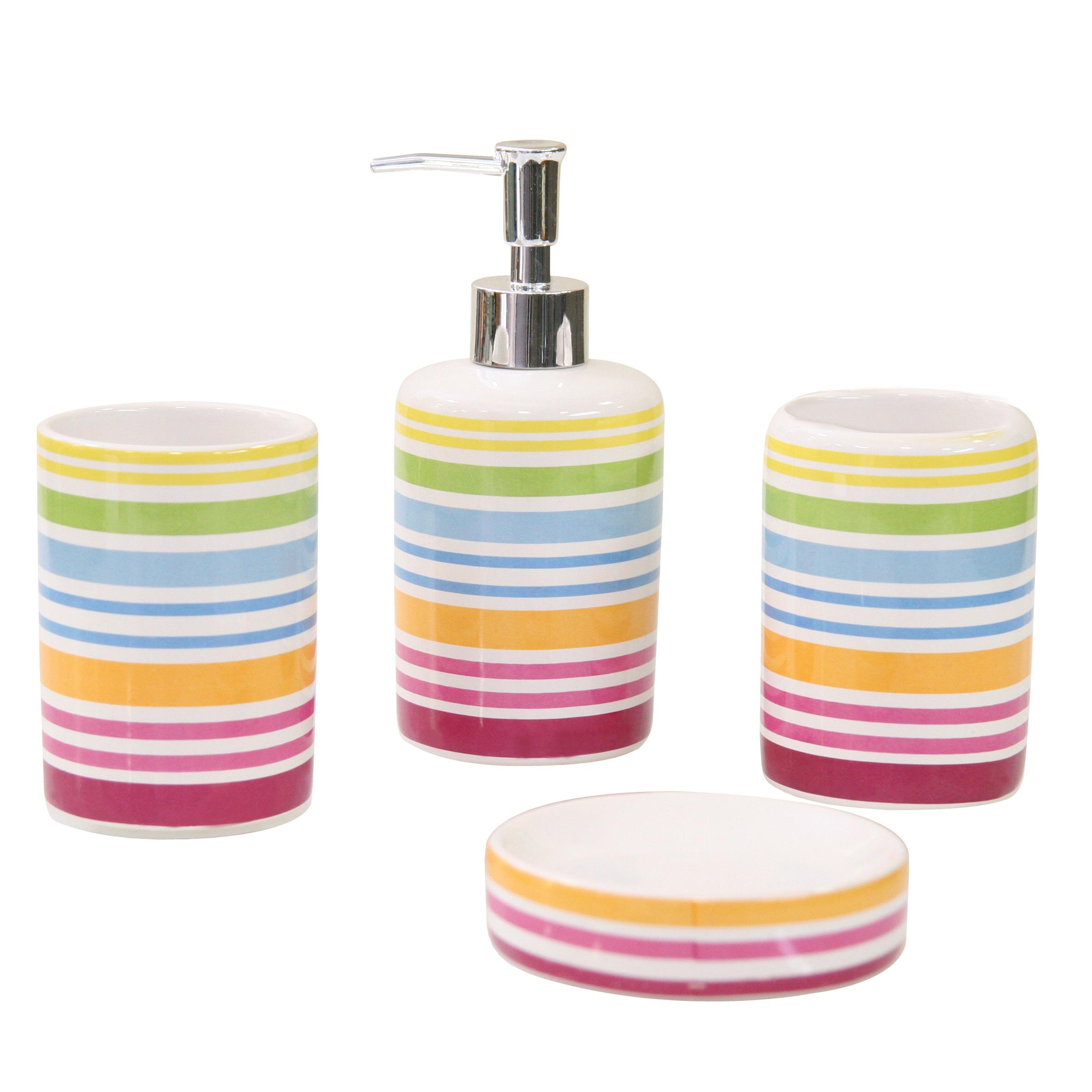 Набор для ванной комнаты Axentia Rio, 4 предметаCLP446Набор для ванной комнаты Axentia Rio, выполнен из натуральной и элегантной керамики, состоит из стакана для зубных щеток, дозатора для жидкого мыла и мыльницы. Изделия декорированы яркими полосками.Аксессуары, входящие в набор Axentia Rio, выполняют не только практическую, но и декоративную функцию. Они способны внести в помещение изысканность, сделать пребывание в нем приятным и даже незабываемым.