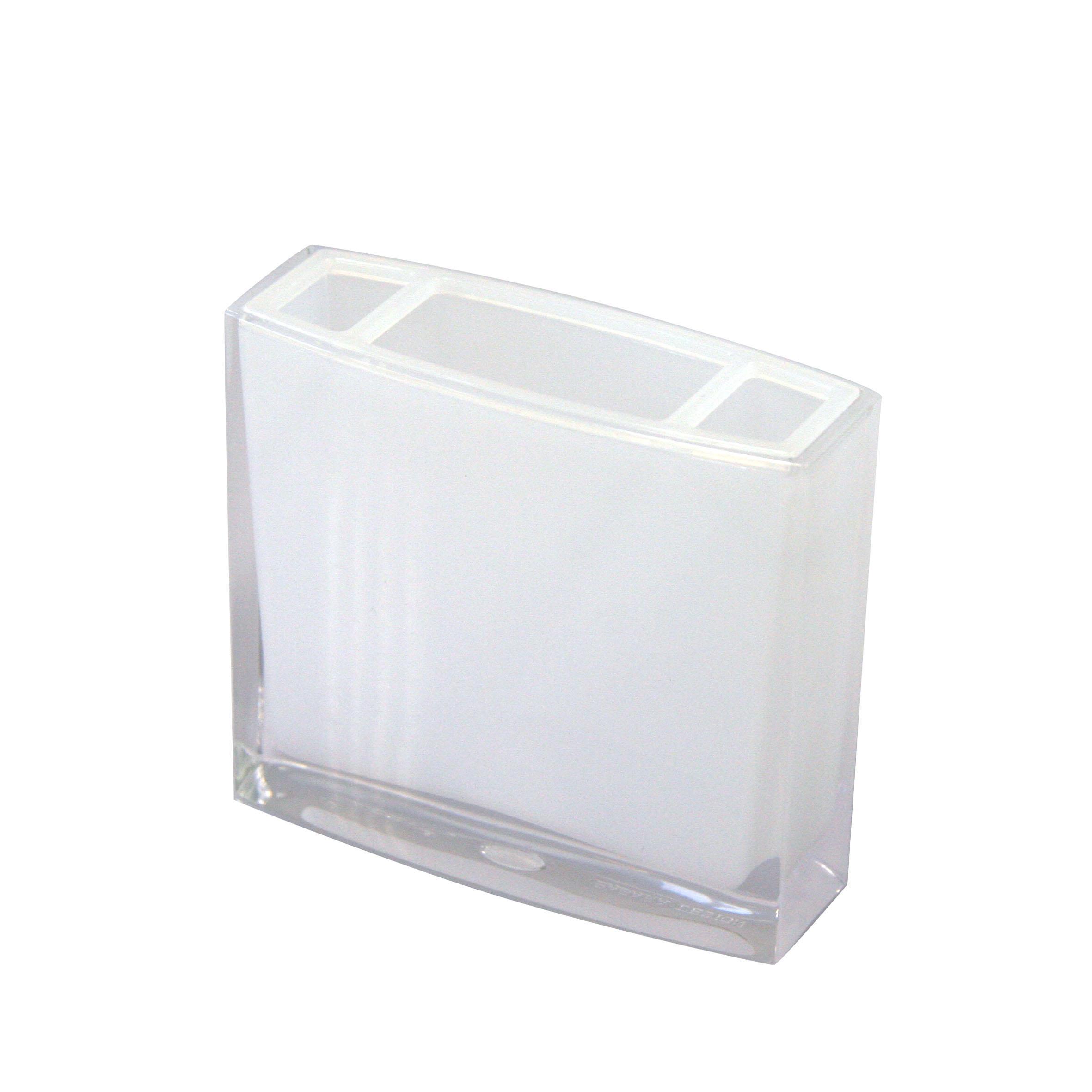 Стакан для зубных щеток Axentia Priamos, цвет: белый, высота 10,5 см3479Стакан для зубных щеток Axentia Priamos изготовлен из высококачественного акрила белого цвета. Изделие превосходно дополнит интерьер ванной комнаты, отлично сочетается с другими аксессуарами из коллекции Priamos.Размеры стакана: 10,5х 9,5 х 3 см.