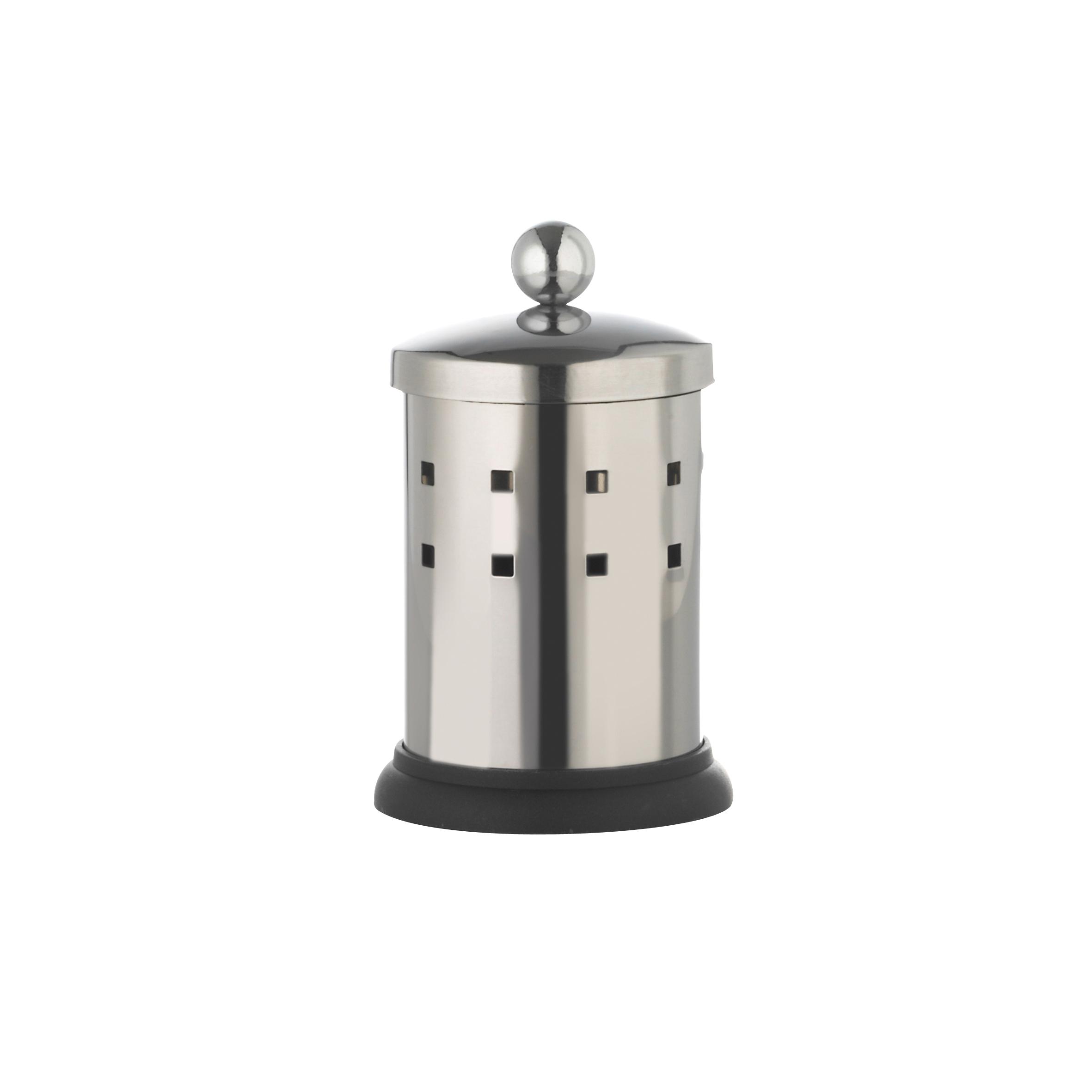 Емкость для хранения ватных палочек Axentia, с крышкой, высота 13 см68/5/1Емкость Axentia, изготовленная из нержавеющей стали со специальной противоскользящей подставкой, предназначена для компактного хранения ватных палочек. Изделие оснащено крышкой. Емкость для хранения ватных палочек Axentia удобна в использовании и экономит место.Высота емкости: 13 см.Диаметр основания емкости: 7 см.