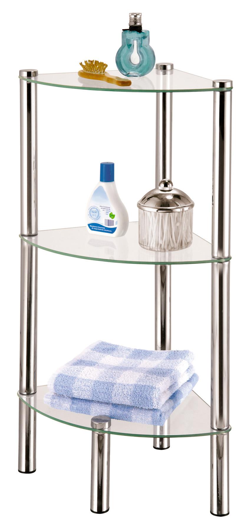 Стойка для ванной Axentia, 3-ярусная, угловая391602Стойка Axentia с 3 стеклянными полками выполнена из стали и предназначена для хранения различных предметов в ванной комнате.Очень удобная и компактная, но в тоже время вместительная, она прекрасно впишется в пространство ванной.