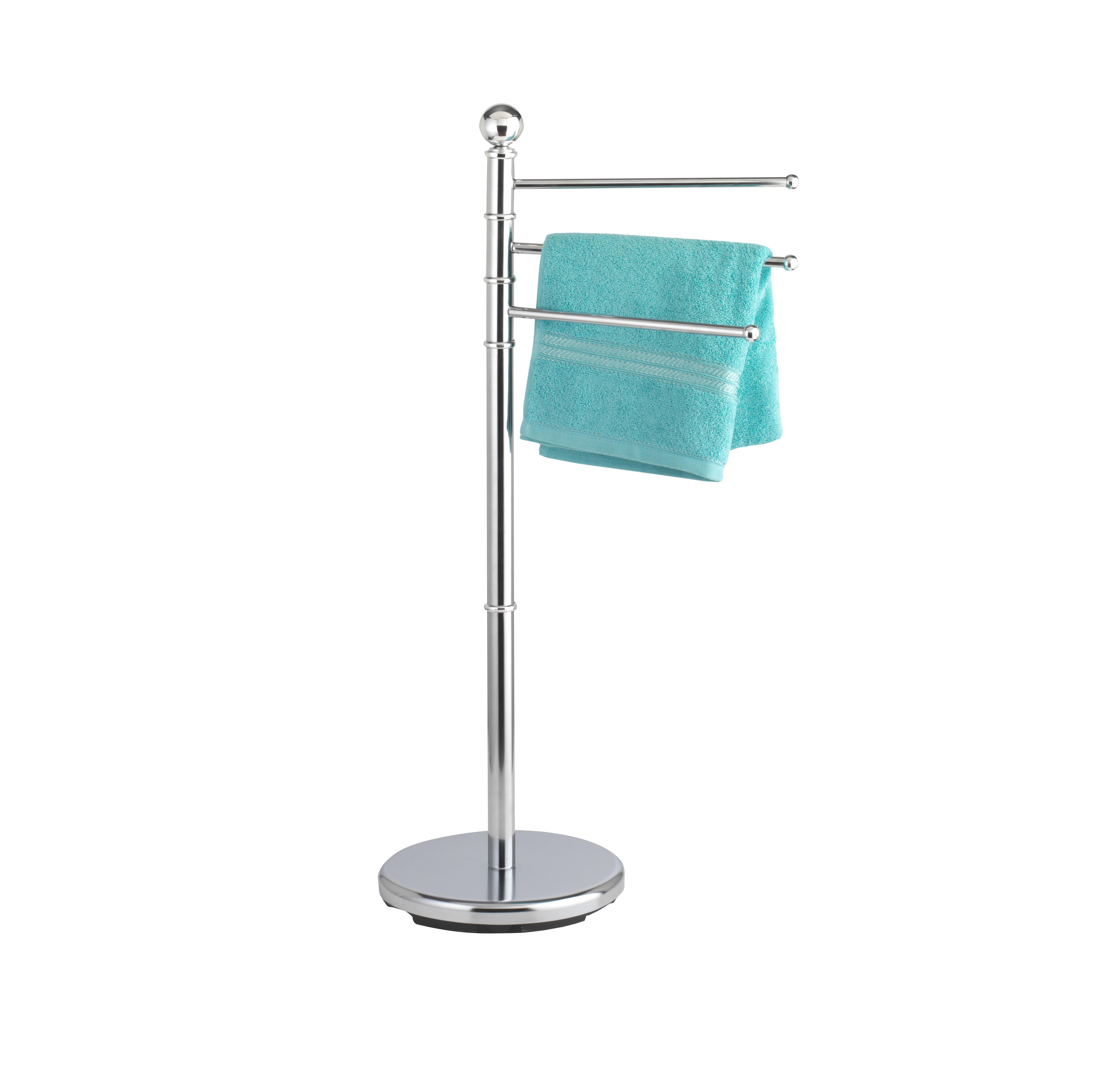 Вешалка для полотенец Axentia, напольная13296Напольная вешалка в виде овала Axentia изготовлена из высококачественной хромированной стали, устойчивой к коррозии в условиях высокой влажности в ванной комнате. Вешалка оснащена 3 вращающимися планками. Изделие предназначено для подвешивания полотенец и имеет утяжеленное основание для повышенной устойчивости.Высота вешалки: 91 см.