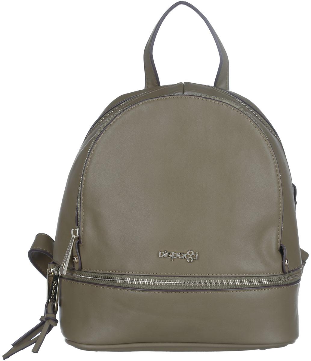 Рюкзак женский Dispacci, цвет: оливковый. 31978S76245Компактный рюкзак Dispacci изготовлен из экокожи и оформлен металлической пластиной в виде логотипа бренда. Лицевая сторона рюкзака украшена декоративной молнией с двумя бегунками.Изделие содержит одно основное отделение, закрывающееся на застежку-молнию. Внутри расположены: накладной кармашек для мелочей и врезной карман на молнии. На лицевой стороне изделия расположен вместительный прорезной карман на молнии.Дно изделия дополнено металлическими ножками.Рюкзак оснащен двумя удобными лямками регулируемой длины и петлей для подвешивания.Стильный аксессуар позволит вам завершить образ и быть неотразимой.