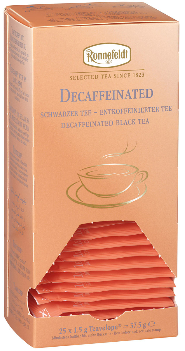 Ronnefeldt черный декофеинизированный чай в пакетиках, 25 шт8690717011394Это чай с пониженным содержанием кофеина, обладающий вкусом и ароматом традиционного черного чая. Чай из линии Teavelope произведен традиционным способом. Качество трав, фруктов и других ингредиентов отвечает самым высоким требованиям. А особая защитная упаковка сохраняет чай таким, каким его создала природа: ароматным, свежим и неповторимым.