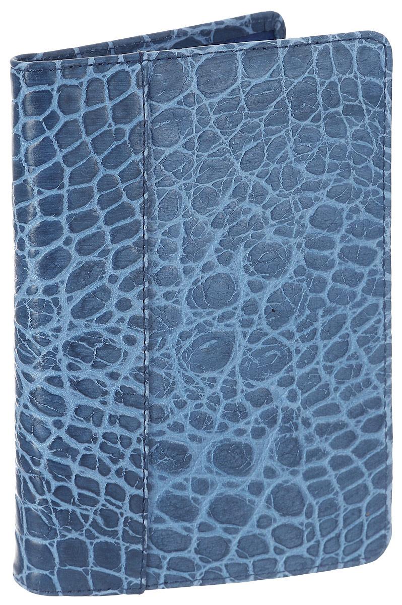 Обложка для паспорта женская Esse Page Elite, цвет: синий. GPGE00-000000-FG108S-K10037706Стильная женская обложка для паспорта Esse Page Elite выполнена из натуральной кожи и оформлена тиснением под крокодила.На внутреннем развороте имеются три кармана для кредитных карт или визиток. Внутри обложка декорирована тиснением логотипа бренда.Обложка не только поможет сохранить внешний вид ваших документов и защитить их от повреждений, но и станет стильным аксессуаром, идеально подходящим вашему образу. Обложка для паспорта стильного дизайна может быть достойным и оригинальным подарком.