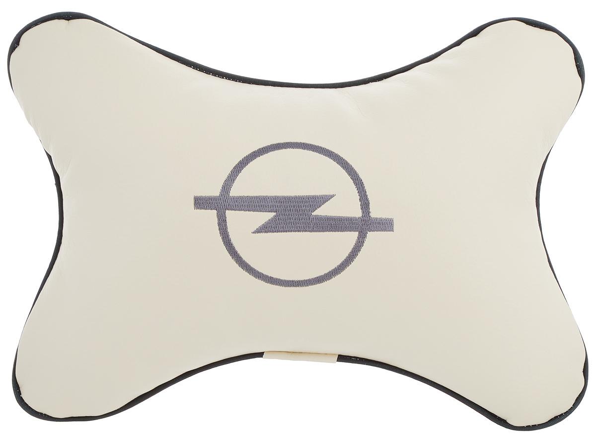 Подушка автомобильная Autoparts Opel, на подголовник, цвет: бежевый, серый, 30 х 20 см1004900000360Автомобильная подушка Autoparts Opel, выполненная из эко-кожи с мягким наполнителем из холлофайбера, снимает усталость с шейных мышц, обеспечивает правильное положение головы и амортизирует нагрузки на шейные позвонки при резком маневрировании. Ее можно зафиксировать на подголовнике с помощью регулируемого по длине ремня. На изделии имеется молния, с помощью которой вы с легкостью сможете поменять наполнитель. Если ваши пассажиры захотят вздремнуть, то подушка под голову окажется очень кстати и поможет расслабиться.