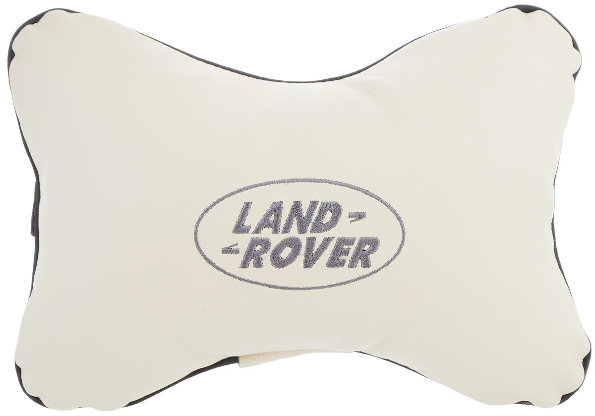 Подушка автомобильная Autoparts Land Rover, на подголовник, цвет: бежевый, серый, 30 х 20 смTEMP-05Автомобильная подушка Autoparts Land Rover, выполненная из эко-кожи с мягким наполнителем из холлофайбера, снимает усталость с шейных мышц, обеспечивает правильное положение головы и амортизирует нагрузки на шейные позвонки при резком маневрировании. Ее можно зафиксировать на подголовнике с помощью регулируемого по длине ремня. На изделии имеется молния, с помощью которой вы с легкостью сможете поменять наполнитель. Если ваши пассажиры захотят вздремнуть, то подушка под голову окажется очень кстати и поможет расслабиться.