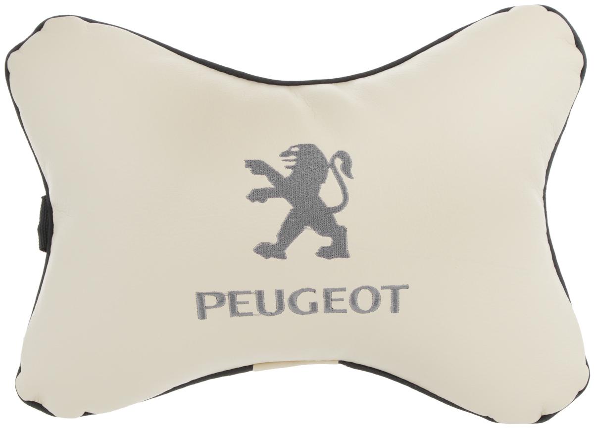 Подушка автомобильная Autoparts Peugeot, на подголовник, цвет: бежевый, серый, 30 х 20 см80621Автомобильная подушка Autoparts Peugeot, выполненная из эко-кожи с мягким наполнителем из холлофайбера, снимает усталость с шейных мышц, обеспечивает правильное положение головы и амортизирует нагрузки на шейные позвонки при резком маневрировании. Ее можно зафиксировать на подголовнике с помощью регулируемого по длине ремня. На изделии имеется молния, с помощью которой вы с легкостью сможете поменять наполнитель. Если ваши пассажиры захотят вздремнуть, то подушка под голову окажется очень кстати и поможет расслабиться.