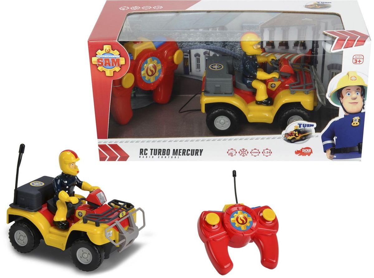 Пожарный квадроцикл Меркурий из мультфильма Пожарный Сэм на пульте радиоуправления. Автомобиль управляется во все стороны. Есть режим ускорения. Длина автомобиля 16 см. Масштаб 1:24. Для работы требуются батарейки 3x 1.5V LR03 (АА) и 3x 1.5V LR6 (ААА).