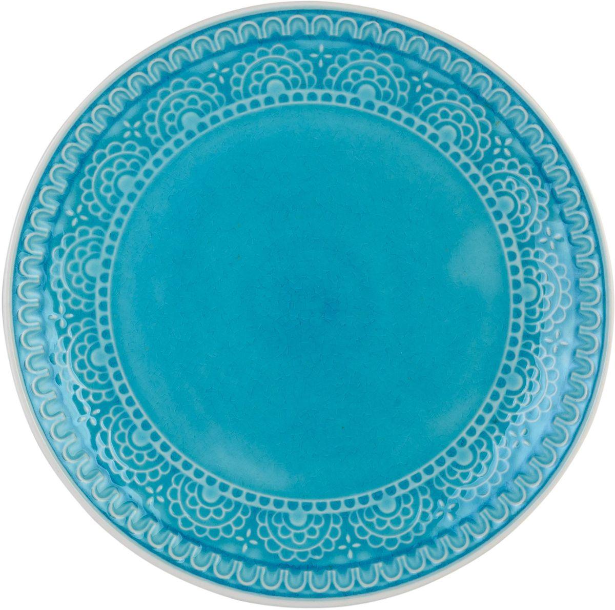 Набор тарелок обеденных Tongo, цвет: голубая бирюза,диаметр 26,7 см, 4 шт115610Традиционная этническая посуда Индонезии. Декоративная техника придает посуде этнический шарм, с элементами старения, в виде паутинки мелких трещинок на поверхности эмали, что повышает ее привлекательность и ценность среди посудных аналогов.В процессе эксплуатации мелкие трещины так же могут проявляться на внутренних поверхностях кружек и салатников, - что также является задумкой дизайнеров, заложенной в производственной технологии.