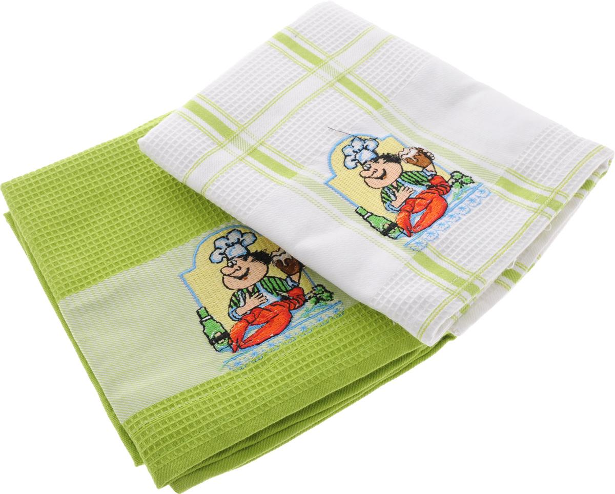 Набор кухонных полотенец Soavita Повар, цвет: белый, салатовый, 45 х 70 см, 2 шт80026Набор Soavita Повар состоит из двух полотенец, выполненных из 100% хлопка. Изделия предназначены для использования на кухне и в столовой.Набор полотенец Soavita Повар - отличное приобретение для каждой хозяйки.Комплектация: 2 шт.