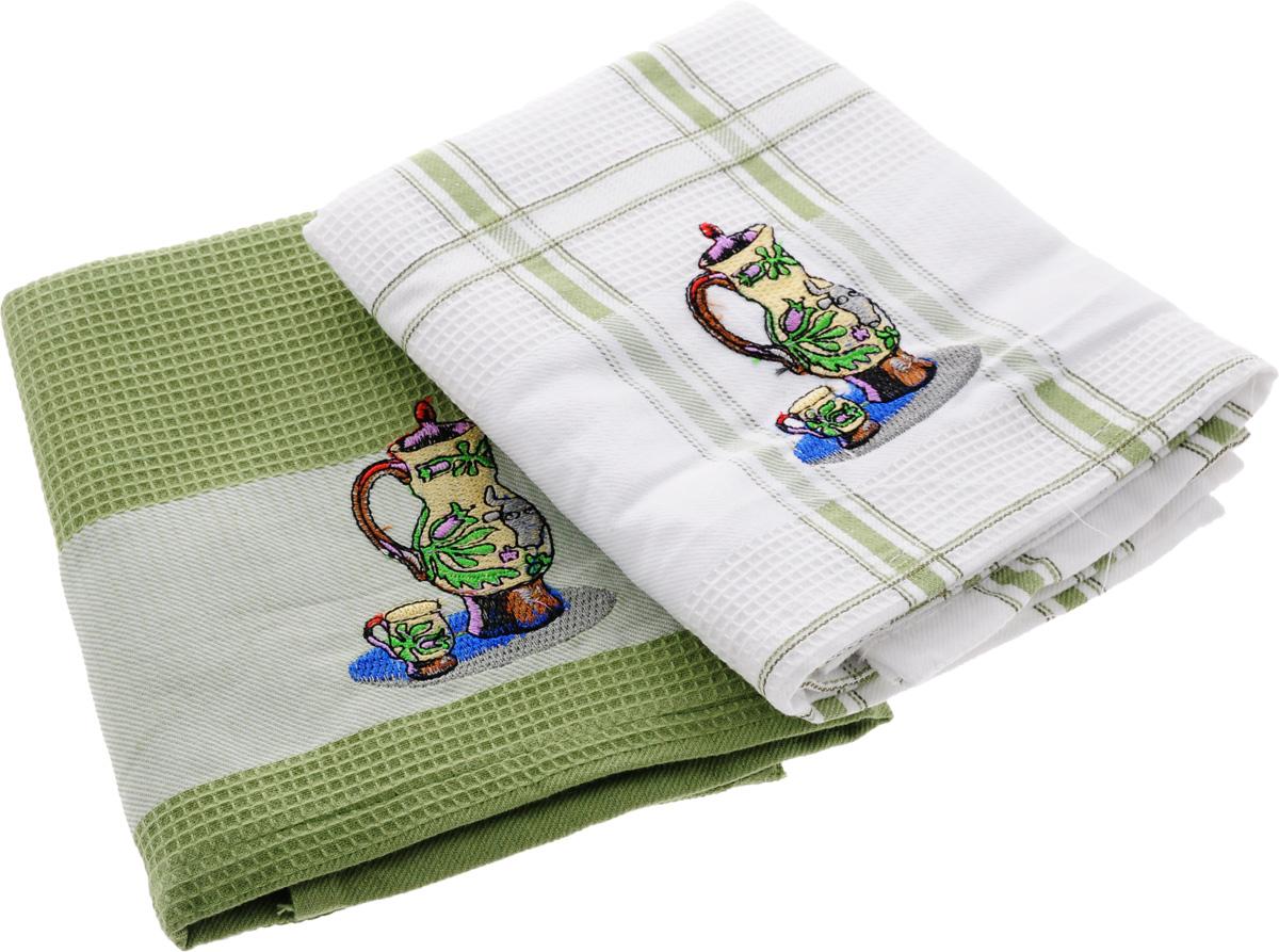 Набор кухонных полотенец Soavita Дуэт, цвет: белый, оливковый, 43 х 68 см, 2 шт. 42835VT-1520(SR)Набор Soavita Дуэт состоит из двух полотенец, выполненных из 100% хлопка. Изделия предназначены для использования на кухне и в столовой.Набор полотенец Soavita Дуэт - отличное приобретение для каждой хозяйки.Комплектация: 2 шт.
