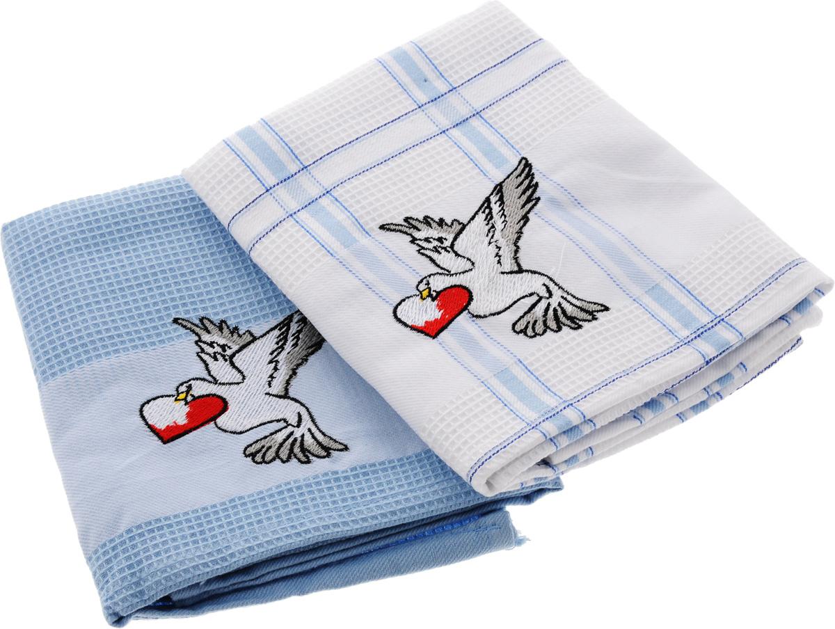 Набор кухонных полотенец Soavita Подарочное, цвет: голубой, белый, 43 х 68 см, 2 шт. 45486KGB GX-3Набор Soavita Подарочное состоит из двух полотенец, выполненных из 100% хлопка. Изделия предназначены для использования на кухне и в столовой.Набор полотенец Soavita Подарочное - отличное приобретение для каждой хозяйки.Комплектация: 2 шт.