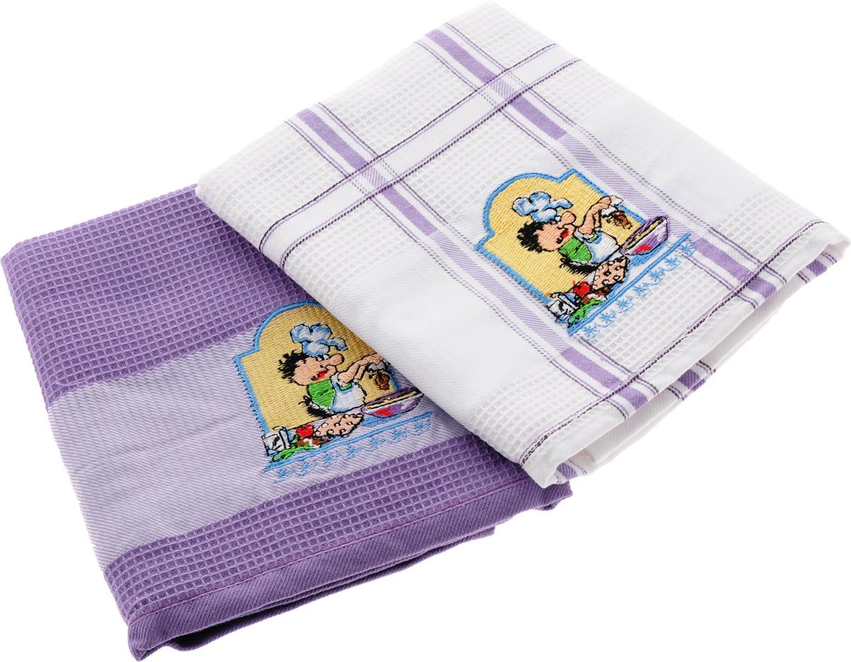 Набор кухонных полотенец Soavita Повар, цвет: белый, сиреневый, 45 х 70 см, 2 шт. 47775K100Набор Soavita Повар состоит из двух полотенец, выполненных из 100% хлопка. Изделия предназначены для использования на кухне и в столовой.Набор полотенец Soavita Повар - отличное приобретение для каждой хозяйки.Комплектация: 2 шт.