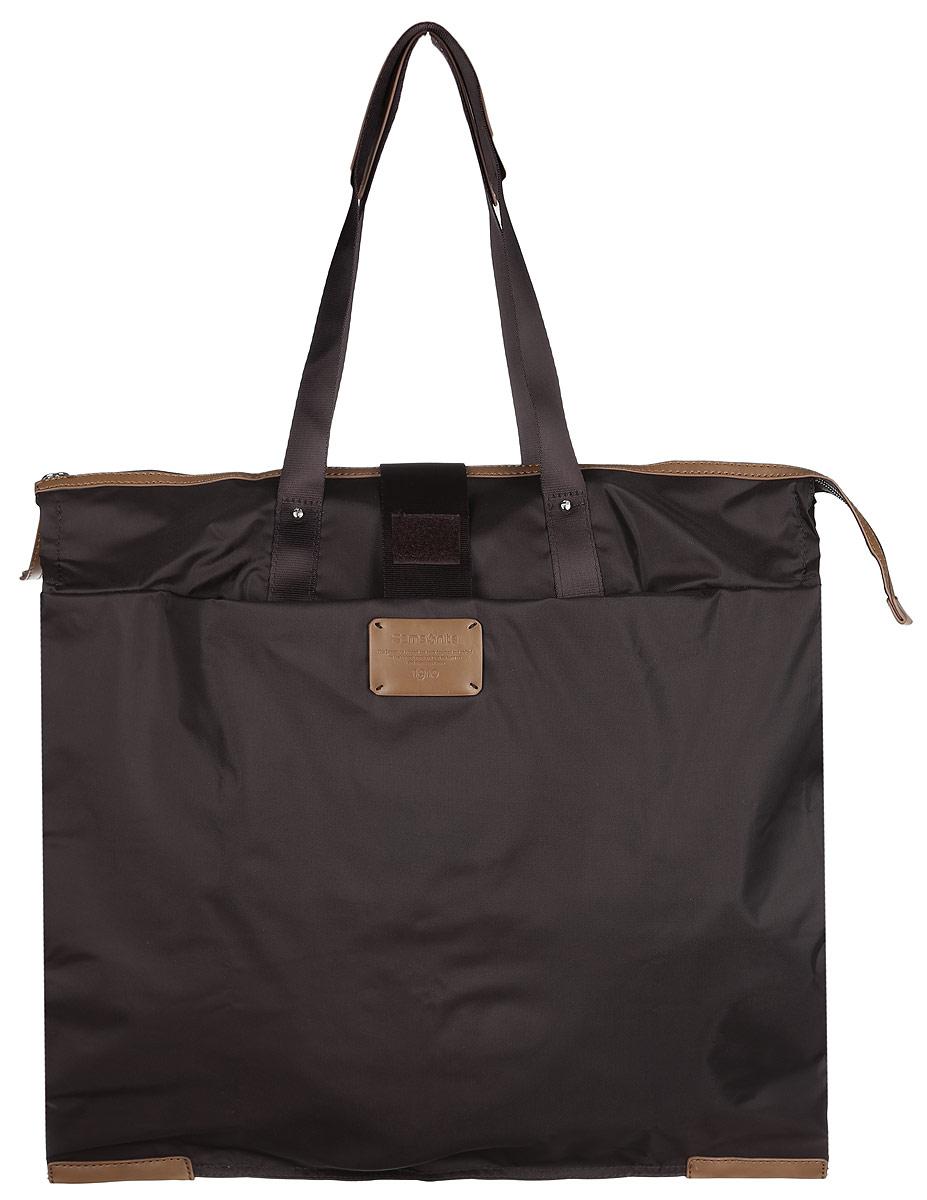 Сумка складная Samsonite, цвет: темно-коричневый. 52V-37003S76245Складная женская сумка Samsonite выполнена из полиамида с добавлением полиуретана и оформлена контрастными вставками и нашивкой логотипа бренда. Изделие содержит одно вместительное отделение, закрывающееся на застежку-молнию. На внешней стороне сумки есть прорезной открытый карман. Сумка оснащена двумя удобными ручками, высота которых позволяет носить сумку как в руке, так и на плече.Сумка не имеет жесткой структуры, за счет чего быстро складывается и фиксируется хлястиком с липучкой и не занимает много места. Такая сумка будет удобна в хранении и в использовании.