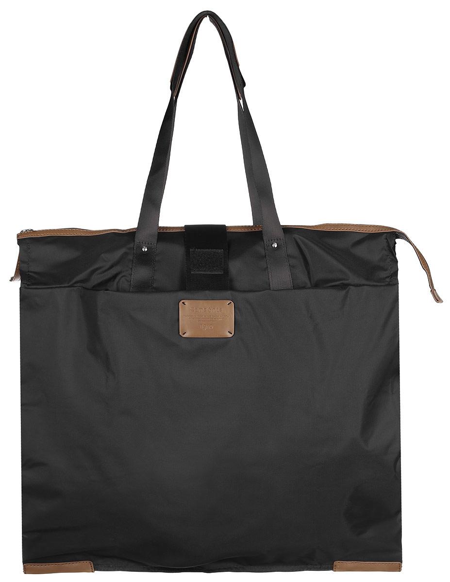 Сумка складная Samsonite, цвет: черный. 52V-09003S76245Складная женская сумка Samsonite выполнена из полиамида с добавлением полиуретана и оформлена контрастными вставками и нашивкой логотипа бренда. Изделие содержит одно вместительное отделение, закрывающееся на застежку-молнию. На внешней стороне сумки есть прорезной открытый карман. Сумка оснащена двумя удобными ручками, высота которых позволяет носить сумку как в руке, так и на плече.Сумка не имеет жесткой структуры, за счет чего быстро складывается и фиксируется хлястиком с липучкой и не занимает много места. Такая сумка будет удобна в хранении и в использовании.