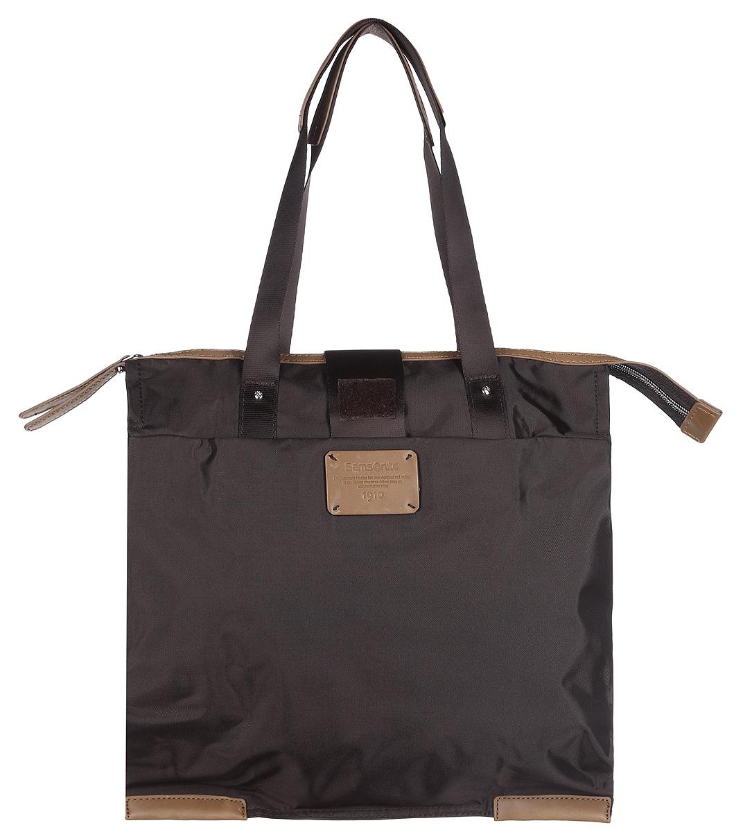 Сумка складная Samsonite, цвет: темно-коричневый. 52V-37001A-B86-05-CСкладная женская сумка Samsonite выполнена из полиамида с добавлением полиуретана и оформлена контрастными вставками и нашивкой логотипа бренда. Изделие содержит одно вместительное отделение, закрывающееся на застежку-молнию. На внешней стороне сумки есть прорезной открытый карман. Сумка оснащена двумя удобными ручками, высота которых позволяет носить сумку как в руке, так и на плече.Сумка не имеет жесткой структуры, за счет чего быстро складывается и фиксируется хлястиком с липучкой и не занимает много места. Такая сумка будет удобна в хранении и в использовании.