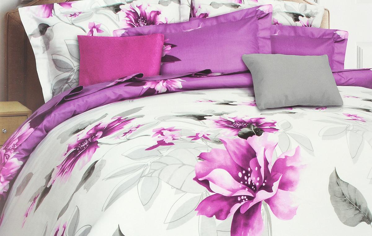 Комплект белья Mona Liza Calisto, 1,5-спальный, наволочки 70x70, цвет: белый, фиолетовый, серыйFD-59Комплект белья Mona Liza Calisto, выполненный из сатина (100% хлопок), состоит из пододеяльника на пуговицах, простыни и двух наволочек. Постельное белье, оформленное изящным цветочным рисунком, имеет изысканный внешний вид и обладает яркостью и сочностью цвета. Сатин - прочная, легкая и мягкая на ощупь ткань. Не линяет при стирке и легко гладится. Эта ткань традиционно считается одной из лучших для изготовления постельного белья.