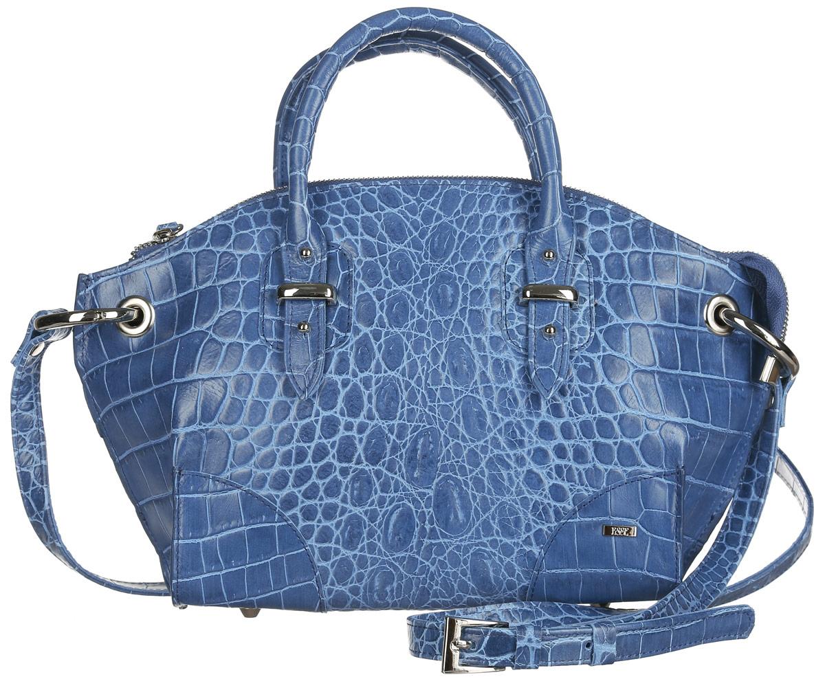 Сумка женская Esse Дейзи, цвет: синий. GDSY2U-00ML09-FG108S-K10071069с-2Стильная женская сумка полужесткой конструкции Esse Дейзи изготовлена из натуральной кожи, оформлена тиснением под крокодила, металлической фурнитурой и пластиной логотипа бренда. Очень удобная и яркая модель станет отличным дополнением вашего блистательного образа.Сумка состоит из одного отделения и застёгивается на застежку-молнию. Отделение содержит нашивной карман для телефона или мелочей и врезной карман на молнии. На задней стенке расположен врезной карман на молнии. Сумка оснащена двумя удобными ручками для переноски в руке и съемным плечевым ремнём, регулируемой длины. Плечевой ремень крепится к изделию за счет крупных металлических колец, продетых сквозь отверстия в сумке. Высота ручек также регулируется. Дно сумки дополнено металлическими ножками, что предотвращает повреждение и изделия.Прилагается текстильный фирменный чехол для хранения.Стильный и практичный аксессуар отлично завершит образ и подчеркнет ваш безупречный вкус.
