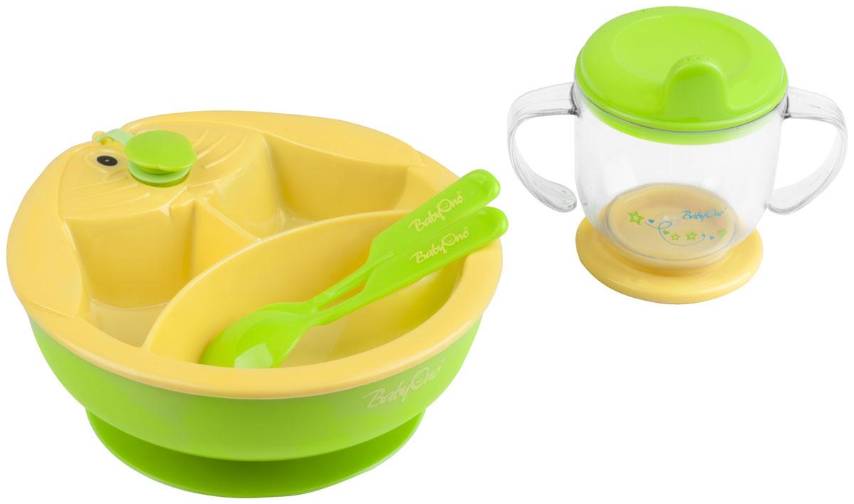 BabyOno Набор посуды для кормления цвет желтый зеленый 4 предмета238_желтый, зеленыйНабор посуды для кормления BabyOno - идеальный набор для освоения навыков самостоятельного приема пищи.В набор входят тарелка с подогревом, позволяет удерживать соответствующую температуру еды во время кормления. Тарелка имеет двойное дно, в нижнюю часть заливается горячая вода, подогревающая еду, которая находится в тарелке. Тарелка оснащена тремя перегородками, благодаря которым разные блюда можно подавать отдельно. Присоска фиксирует тарелку, благодаря чему тарелка не передвигается по столу и еда не разливается. Для того, чтобы в двойное дно тарелки влить воду, необходимо открыть крышку, находящуюся в верхней части тарелки и влить в отверстие горячую воду (не кипяток), после чего закрыть крышку. Тренировочная кружка , эргономичные ручки которой отлично подходят к маленьким ручкам малыша, благодаря чему ребенку удобно держать кружечку в руках и подносить ее ко рту. Тренировочная кружечка, эргономические ручки которой отлично подходят к маленьким ручкам малыша, благодаря чему ребенку удобно держать кружечку в руках и подносить ее ко рту. На кружке нанесена мерная шкала. Также в набор входят вилочка и ложечка.Перед первым применением необходимо тщательно вымыть набор.Не содержит бисфенол А.Товар сертифицирован.