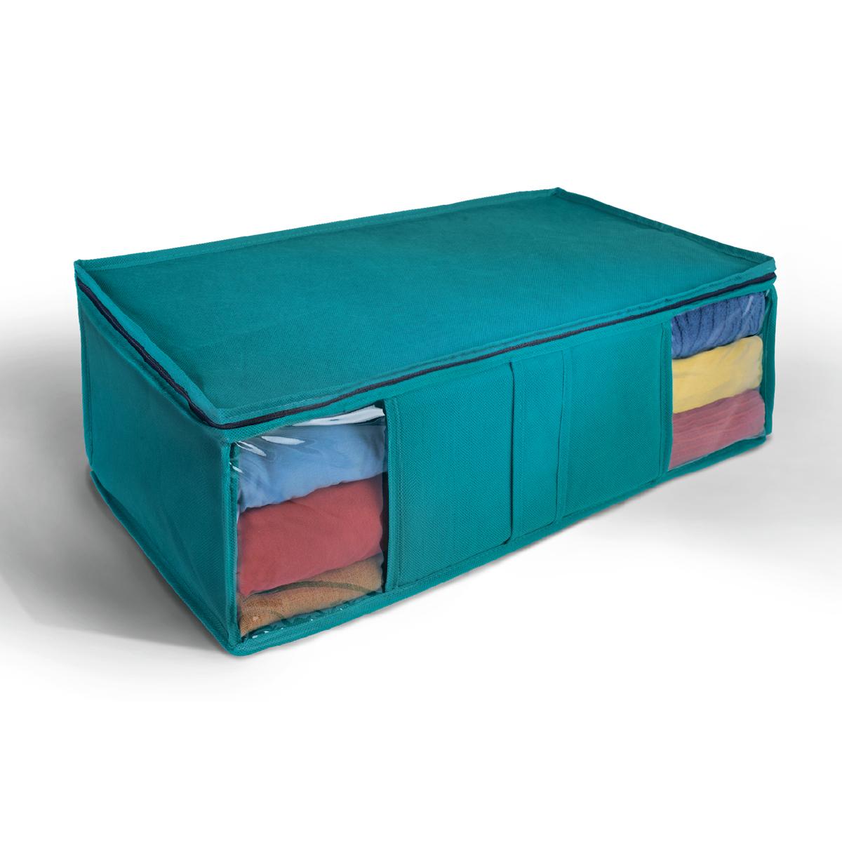 Кофр для хранения Miolla, цвет: синий, 60 х 30 х 20 см. CHL-10-112723Ящик текстильный для хранения вещей 60 x 30 x 20 см синий