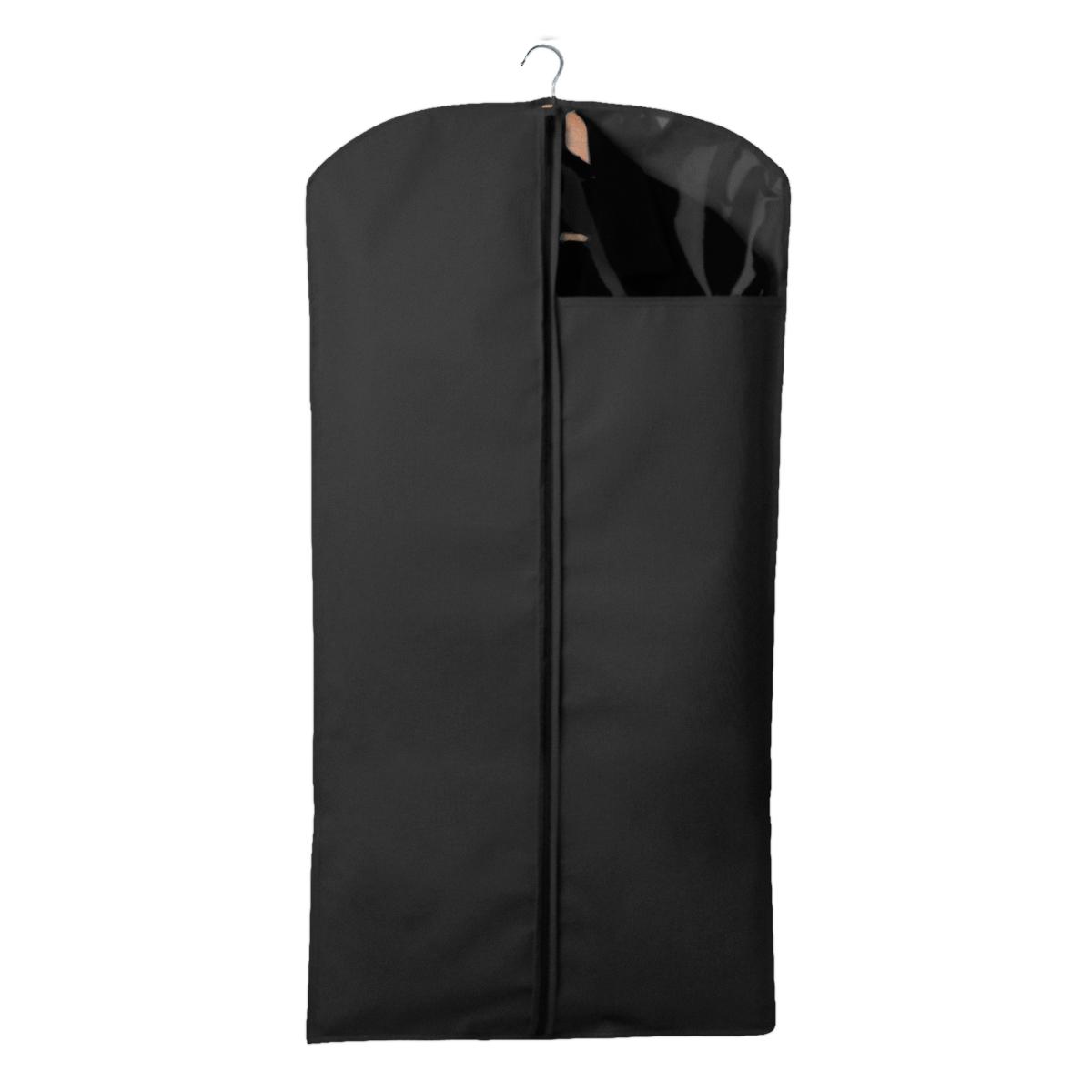 Чехол для одежды Miolla, с окошком, цвет: черный, 120 х 60 смRG-D31SЧехол для костюмов и платьев Miolla на застежке-молнии выполнен из высококачественного нетканого материала. Прозрачное полиэтиленовое окошко позволяет видеть содержимое чехла. Подходит для длительного хранения вещей.Чехол обеспечивает вашей одежде надежную защиту от влажности, повреждений и грязи при транспортировке, от запыления при хранении и проникновения моли. Чехол обладает водоотталкивающими свойствами, а также позволяет воздуху свободно поступать внутрь вещей, обеспечивая их кондиционирование. Размер чехла: 120 х 60 см.
