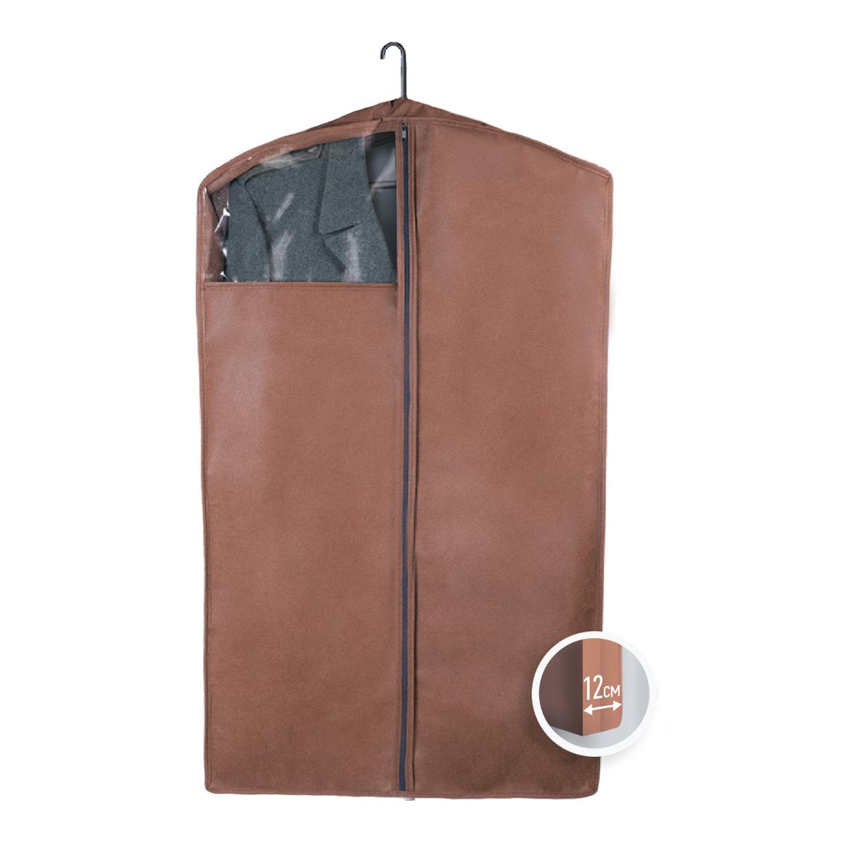 Чехол для верхней одежды Miolla, с окошком, цвет: коричневый, 100 х 60 х 12 смV4140/1SЧехол для верхней одежды Miolla на застежке-молнии выполнен из высококачественного нетканого материала. Прозрачное полиэтиленовое окошко позволяет видеть содержимое чехла. Подходит для длительного хранения вещей.Чехол обеспечивает вашей одежде надежную защиту от влажности, повреждений и грязи при транспортировке, от запыления при хранении и проникновения моли. Чехол обладает водоотталкивающими свойствами, а также позволяет воздуху свободно поступать внутрь вещей, обеспечивая их кондиционирование. Это особенно важно при хранении кожаных и меховых изделий.Размер чехла: 100 х 60 х 12 см.