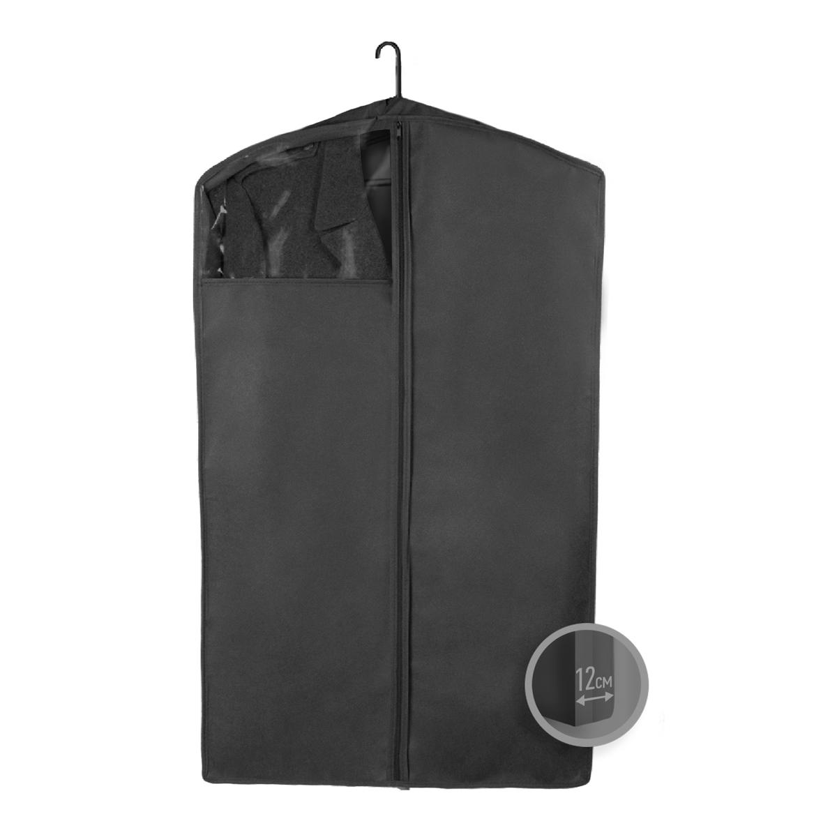 Чехол для верхней одежды Miolla, с окошком, цвет: черный, 100 х 60 х 12 смБрелок для ключейЧехол для верхней одежды Miolla на застежке-молнии выполнен из высококачественного нетканого материала. Прозрачное полиэтиленовое окошко позволяет видеть содержимое чехла. Подходит для длительного хранения вещей.Чехол обеспечивает вашей одежде надежную защиту от влажности, повреждений и грязи при транспортировке, от запыления при хранении и проникновения моли. Чехол обладает водоотталкивающими свойствами, а также позволяет воздуху свободно поступать внутрь вещей, обеспечивая их кондиционирование. Это особенно важно при хранении кожаных и меховых изделий.Размер чехла: 100 х 60 х 12 см.