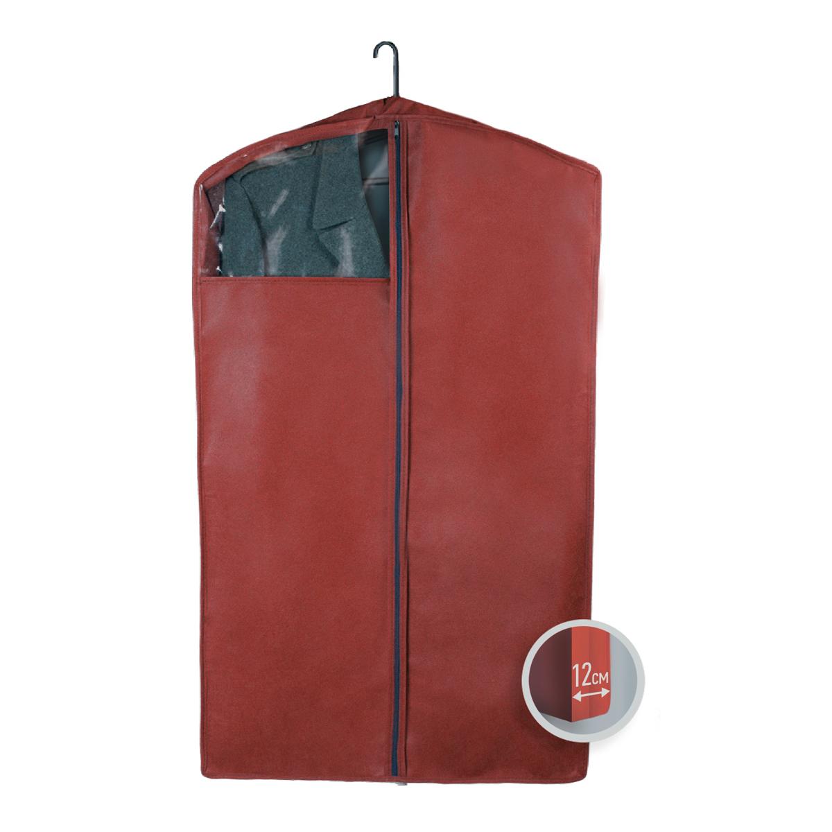 Чехол для верхней одежды Miolla, с окошком, цвет: бордовый, 100 х 60 х 12 см41619Чехол для верхней одежды Miolla на застежке-молнии выполнен из высококачественного нетканого материала. Прозрачное полиэтиленовое окошко позволяет видеть содержимое чехла. Подходит для длительного хранения вещей.Чехол обеспечивает вашей одежде надежную защиту от влажности, повреждений и грязи при транспортировке, от запыления при хранении и проникновения моли. Чехол обладает водоотталкивающими свойствами, а также позволяет воздуху свободно поступать внутрь вещей, обеспечивая их кондиционирование. Это особенно важно при хранении кожаных и меховых изделий.Размер чехла: 100 х 60 х 12 см.