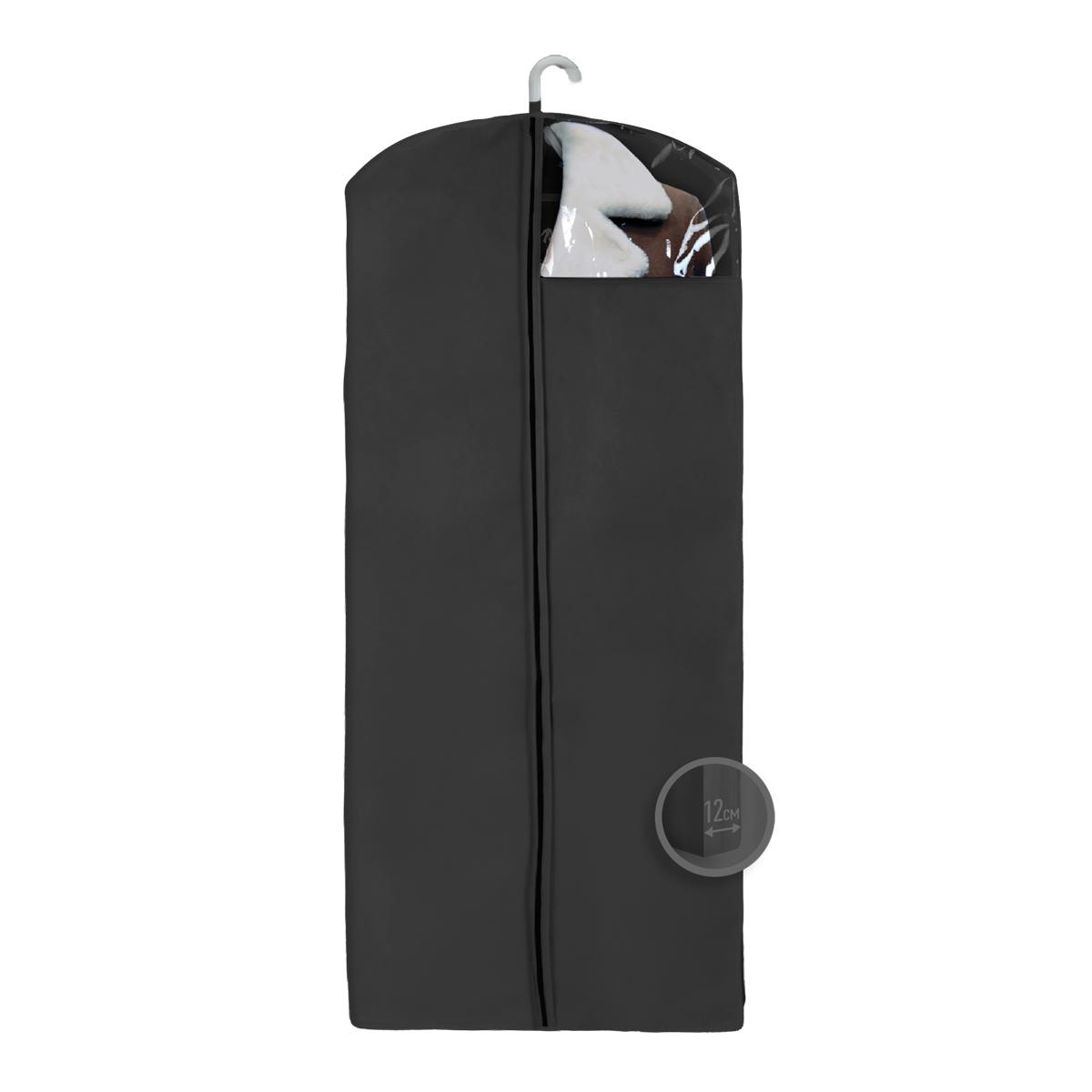 Чехол для верхней одежды Miolla, с окошком, цвет: черный, 140 х 60 х 12 смPARIS 75015-8C ANTIQUEЧехол для верхней одежды Miolla на застежке-молнии выполнен из высококачественного нетканого материала. Прозрачное полиэтиленовое окошко позволяет видеть содержимое чехла. Подходит для длительного хранения вещей.Чехол обеспечивает вашей одежде надежную защиту от влажности, повреждений и грязи при транспортировке, от запыления при хранении и проникновения моли. Чехол обладает водоотталкивающими свойствами, а также позволяет воздуху свободно поступать внутрь вещей, обеспечивая их кондиционирование. Это особенно важно при хранении кожаных и меховых изделий.Размер чехла: 140 х 60 х 12 см.