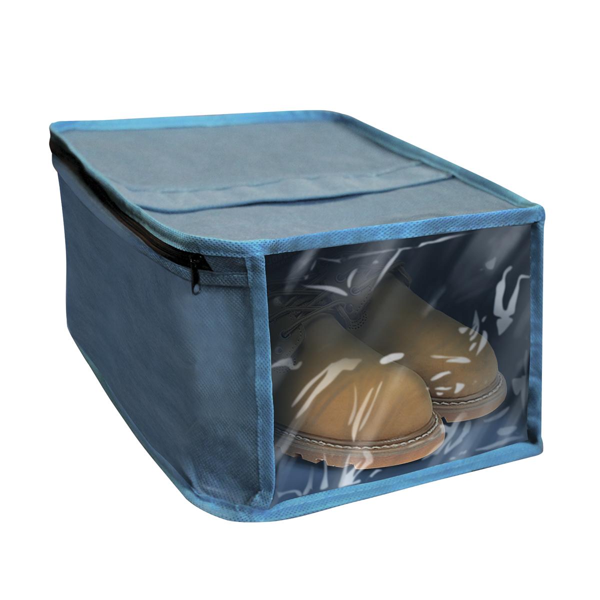 Чехол для хранения обуви Miolla, с окошком, цвет: синий, 30 х 25 х 15 смRG-D31SЧехол для хранения обуви Miolla на застежке-молнии выполнен из высококачественного нетканого материала. Прозрачное полиэтиленовое окошко позволяет видеть содержимое чехла. Подходит для длительного хранения вещей.Чехол обеспечивает вашей обуви надежную защиту от влажности, повреждений и грязи при транспортировке, от запыления при хранении и проникновения моли. Чехол обладает водоотталкивающими свойствами, а также позволяет воздуху свободно поступать внутрь вещей, обеспечивая их кондиционирование. Размер чехла: 30 х 25 х 15 см.