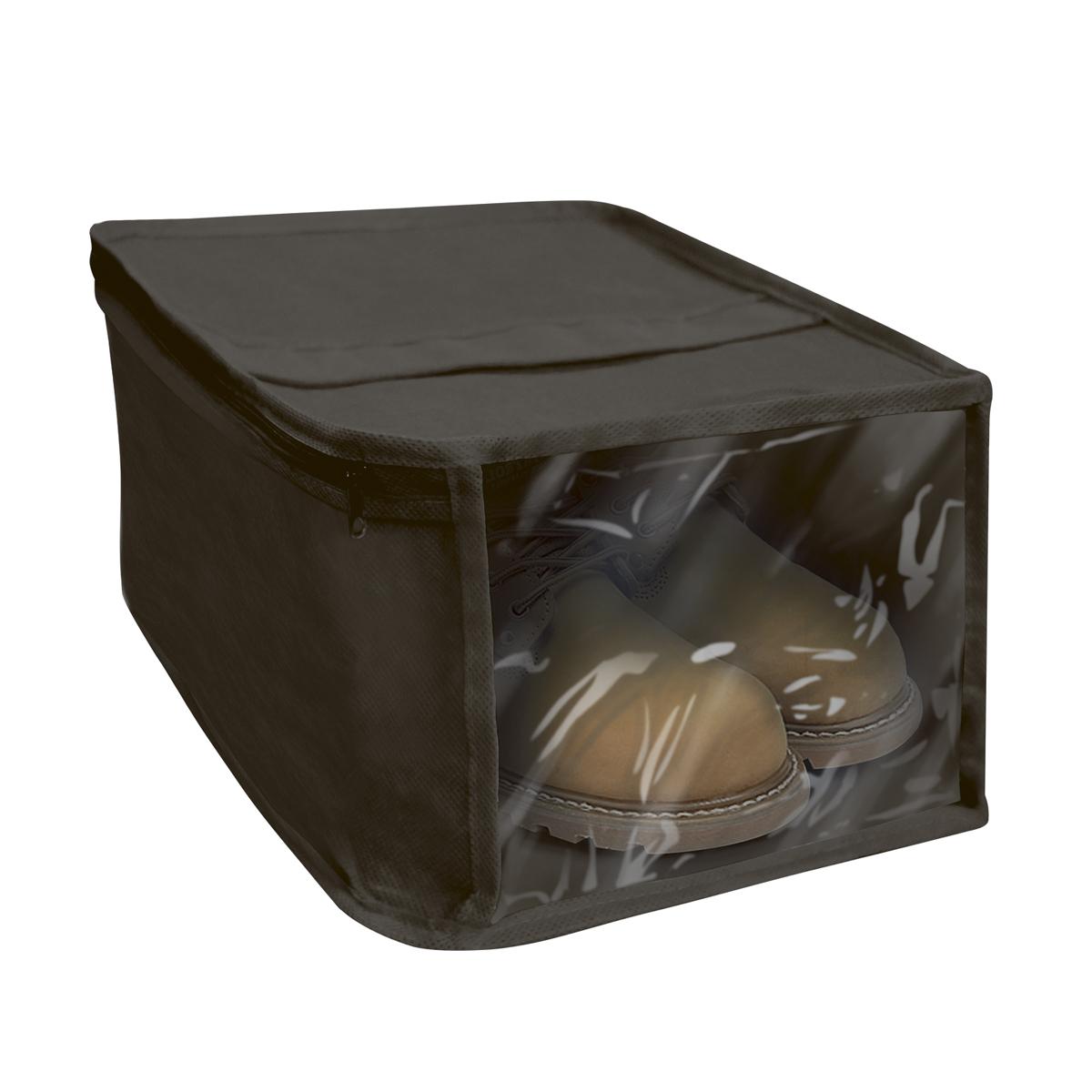Чехол для хранения обуви Miolla, с окошком, цвет: черный, 30 х 25 х 15 смБрелок для ключейЧехол для хранения обуви Miolla на застежке-молнии выполнен из высококачественного нетканого материала. Прозрачное полиэтиленовое окошко позволяет видеть содержимое чехла. Подходит для длительного хранения вещей.Чехол обеспечивает вашей обуви надежную защиту от влажности, повреждений и грязи при транспортировке, от запыления при хранении и проникновения моли. Чехол обладает водоотталкивающими свойствами, а также позволяет воздуху свободно поступать внутрь вещей, обеспечивая их кондиционирование.