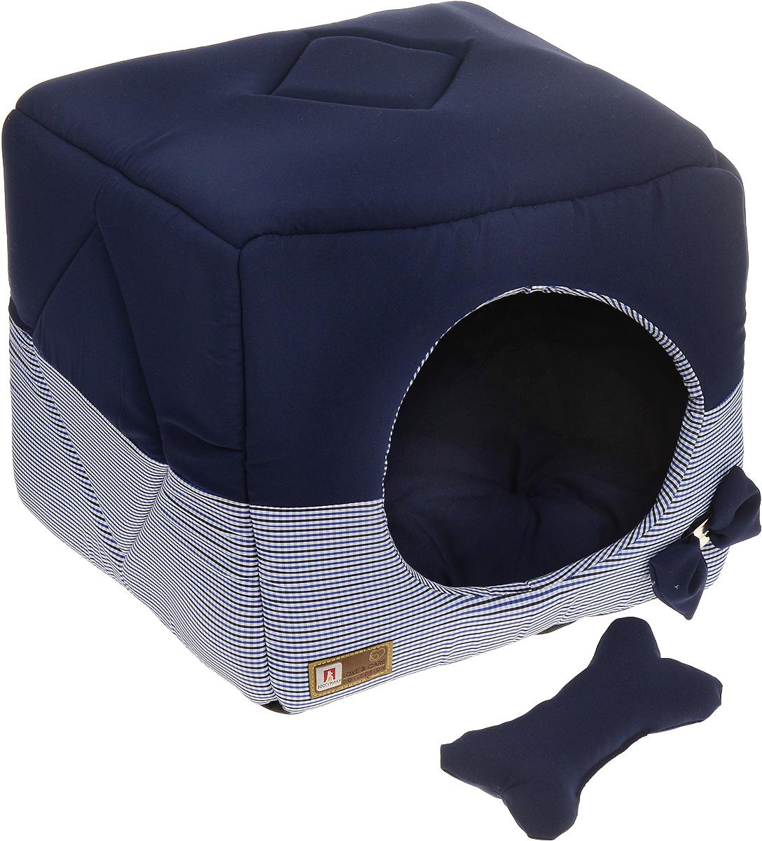Лежак для собак и кошек Зоогурман Домосед, цвет: темно-синий, белый, 45 х 45 х 45 смLM4140-002mОригинальный и мягкий лежак для кошек и собак Зоогурман Домосед обязательно понравится вашему питомцу. Лежак выполнен из приятного материала. Уникальная конструкция лежака имеет два варианта использования:- лежанка с высокими бортиками и мягкой внутренней подушкой; - закрытый домик с мягкой подушкой внутри.Универсальный лежак-трансформер подарит вашему питомцу ощущение уюта и комфорта.В комплекте со съемной подушкой мягкая игрушка косточка.За изделием легко ухаживать, можно стирать вручную или в стиральной машине при температуре 40°С. Наполнитель: гипоаллергенное синтетическое волокно. Наполнитель матрасика: шерсть.Размер домика: 45 х 45 х 45 см.Размер лежанки: 45 х 45 х 20 см.