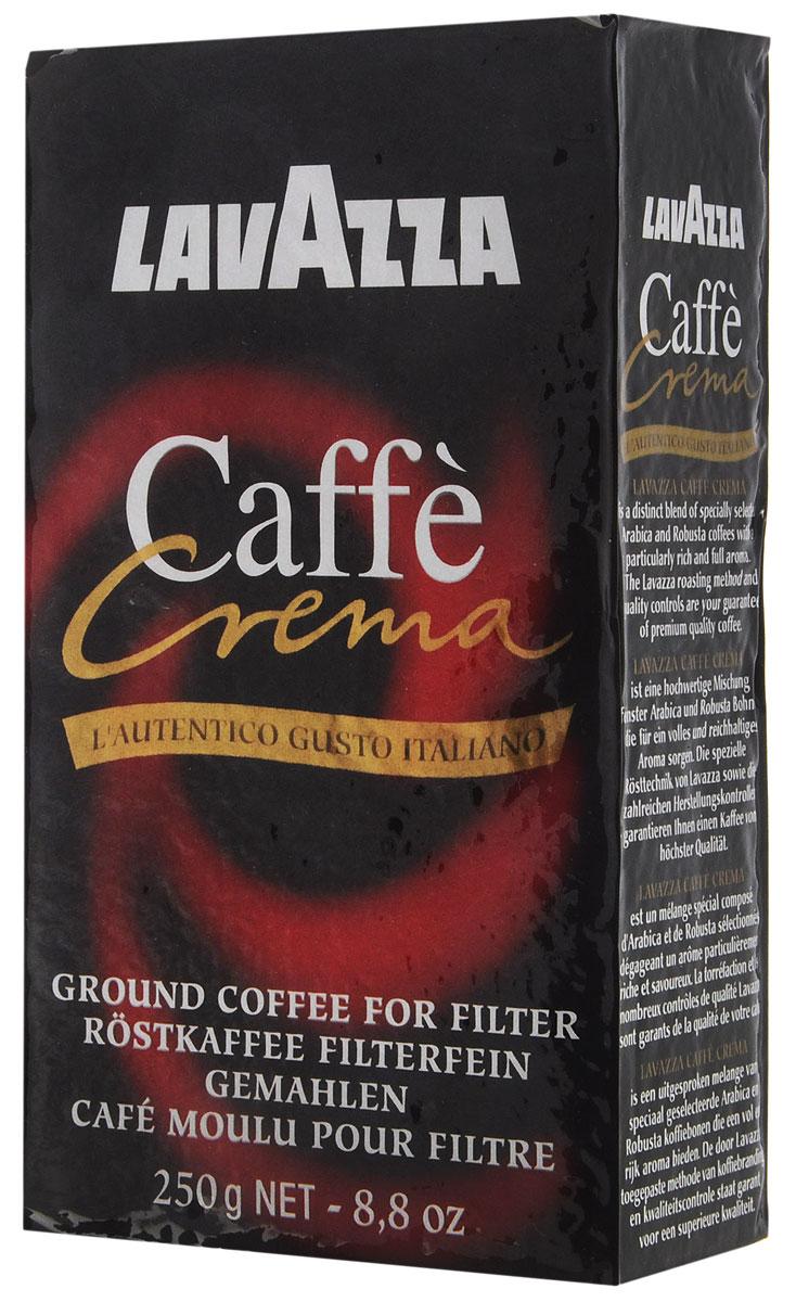 Lavazza Caffe Crema кофе молотый, 250 г0120710Кофе Lavazza Caffe Crema обладает стойким ароматом Африканской, Восточно-Азиатской Робусты и Бразильской Арабики высочайшего качества. Специальный купаж и помол позволяют получить сладкий насыщенный эспрессо с устойчивой густой пенкой и длительным послевкусием.