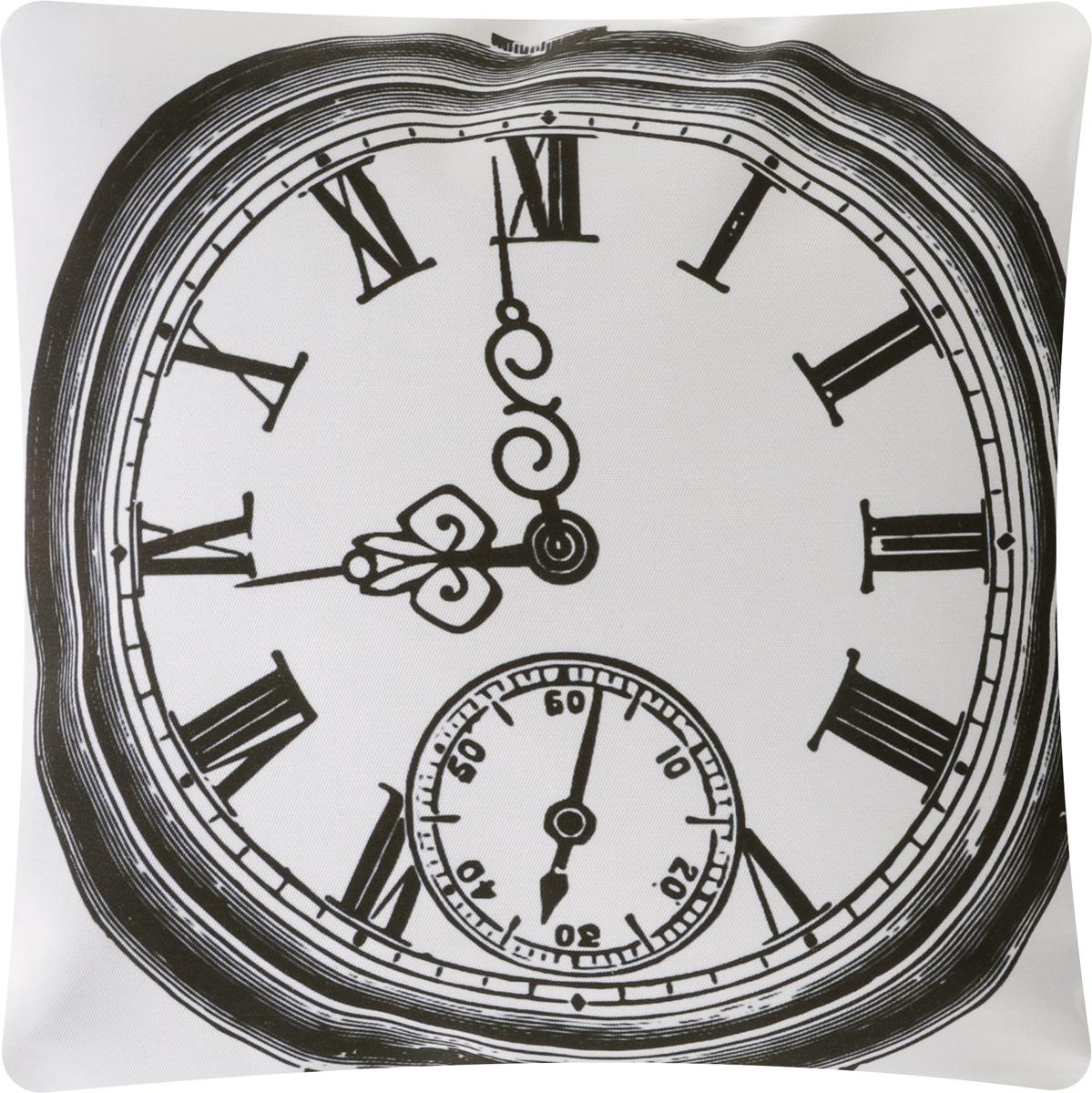 Подушка декоративная Proffi Старинные часы, цвет: белый, черный, 43 х 43 смS03301004Декоративная подушка Proffi Старинные часы - это яркое украшение вашего дома. Чехол выполнен из приятного на ощупь полиэстера и застегивается на молнию. Внутри - мягкий наполнитель, изготовленный из шариков холлофайбера.Лицевая сторона подушки украшена ярким изображением, задняя сторона - однотонная. Стильная и яркая подушка эффектно украсит интерьер и добавит в привычную обстановку изысканность и роскошь.