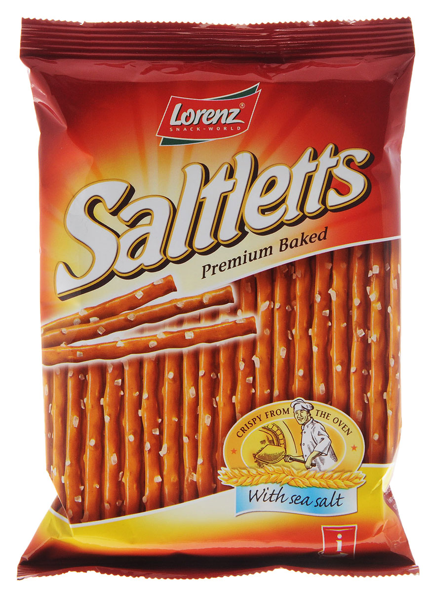 Lorenz Saltletts палочки соленые классические на ленте, 75 г0120710Палочки Lorenz Saltletts уже давно являются бесспорной классикой на немецком рынке. Хрустящая соломка золотисто-коричневого цвета радует потребителей с 1935 года. Снэки приготовлены из лучших ингредиентов и приправлены натуральной морской солью.