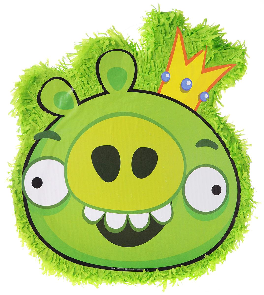 """Пиньята - мексиканская по происхождению игра для взрослых и детей. Пиньята Веселая затея """"Angry Birds. Король Свиней"""" изготовлена из картона, папье-маше и оформлена изображением зеленой свинки. Пиньяту наполняют различными угощениями и игрушками (до 900 граммов наполнителя) и подвешивают к потолку или на дерево. Праздничная пиньята по праву сможет стать центром вашего праздника благодаря активной игре и яркому привлекательному внешнему виду. Также пиньята может служить оригинальным украшением интерьера."""