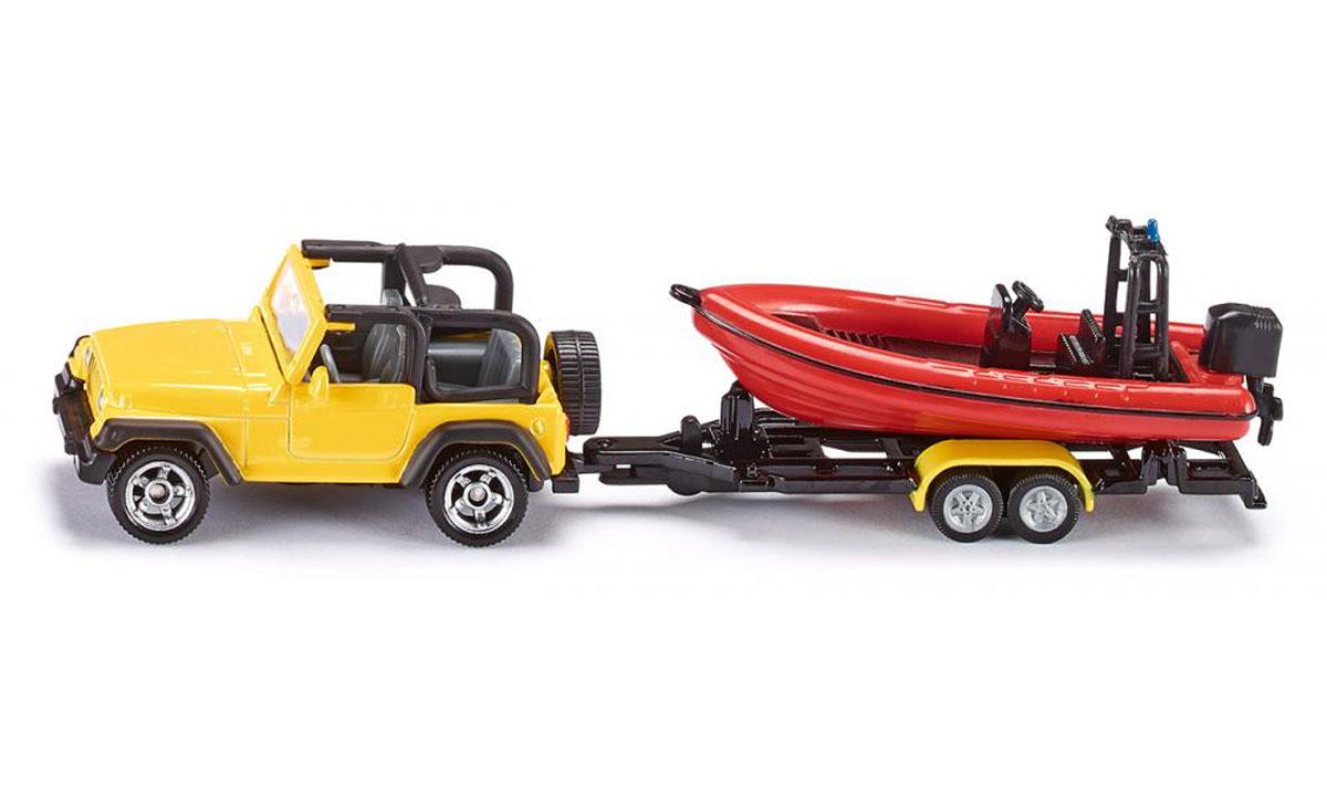 """Внедорожник Jeep Wrangler с лодкой """"Siku"""" выполнен в виде точной копии реального автомобиля с прицепом. Такая модель понравится не только ребенку, но и взрослому коллекционеру и приятно удивит вас высочайшим качеством исполнения. Корпус машины выполнен из металла с пластиковыми элементами. Прорезиненные колеса модели имеют свободный ход. Модель отличается великолепным качеством исполнения и детальной проработкой, она станет не только интересной игрушкой для ребенка, интересующегося различными видами техники, но и займет достойное место в коллекции."""