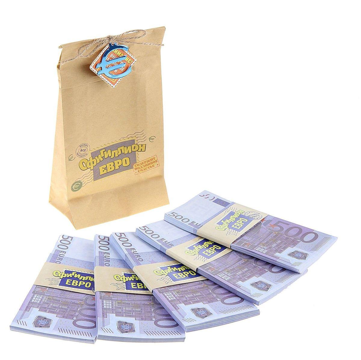 Мешок денег Sima-land Офигиллион Евро, 4 x 11,5 x 21,4 см74-0120Хотите весело и щедро выкупить невесту? Легко!Сколько нужно жениху, чтобы родители невесты отдали их бесценное сокровище? Возможно, мешок денег или два. А в каждом – по офигиллиону евро. Теперь точно хватит!В плотном мешке из бумаги располагается 5 пачек, каждая их которых упакована в бумажную обертку с надписью. Деньги оформлены в виде настоящих пятисотенных купюр. Мешок декорирован бечевкой с эмблемой валюты, которая находится внутри.Теперь дело за малым, осталось лишь послушно выполнять задания подружек невесты и удивлять их своей щедростью!