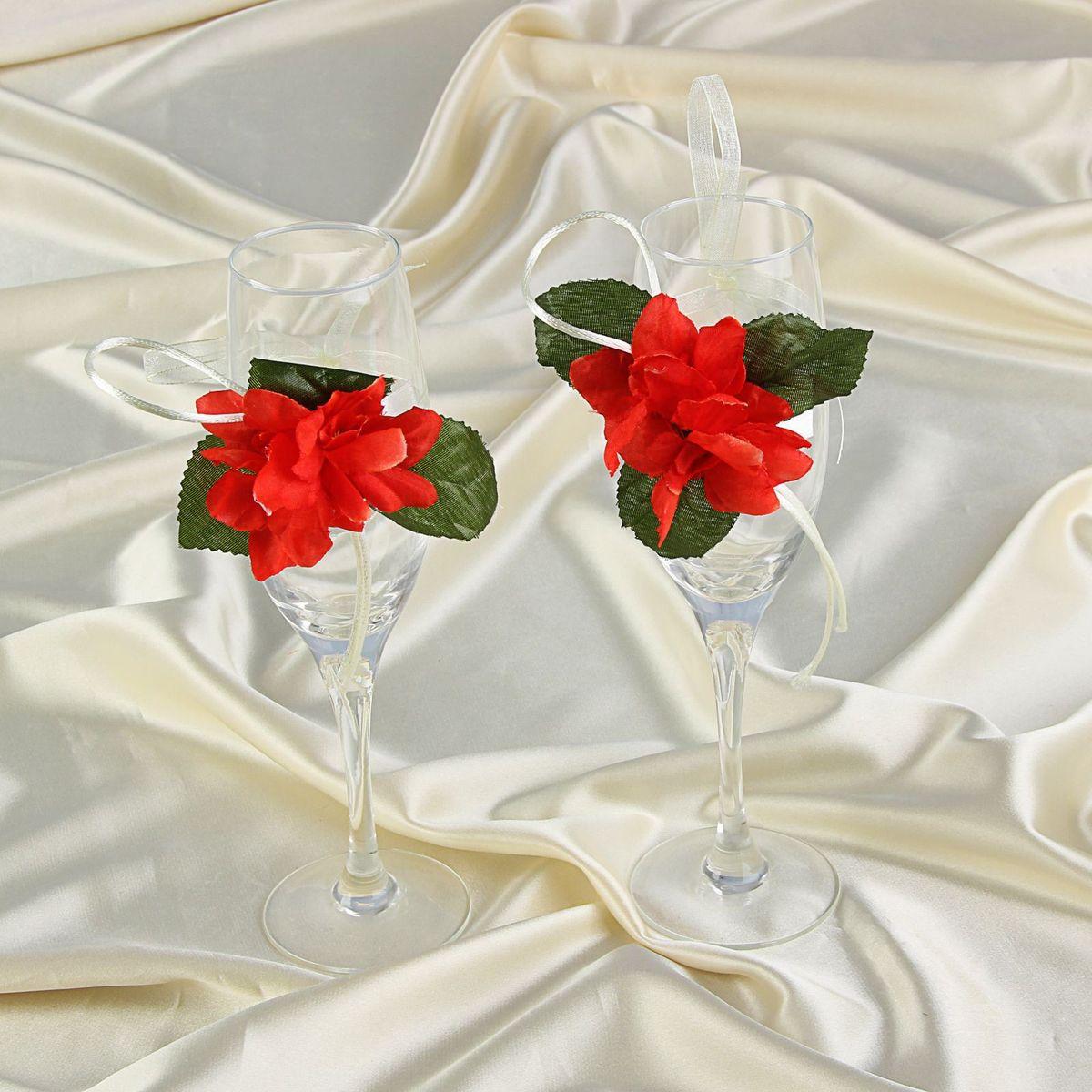 Sima-land Декор на бокалы Bokal-18, цвет: красный, 2 штMB860Декор на бокалы, набор 2 шт, - то, без чего не проходит ни одна церемония бракосочетания. Изысканный и утонченный аксессуар будет выигрышно смотреться в зале регистрации и за банкетным столом. Этот символ можно сохранить и на последующие годовщины свадьбы, украсив им бокал шампанского и вспоминая счастливый день.